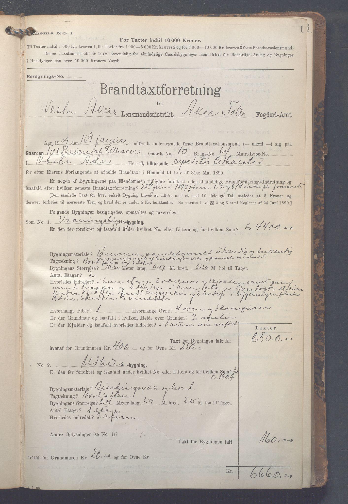 OBA, Lensmennene i Aker, F/Fa/L0013: Branntakstprotokoll, 1909-1914, s. 1