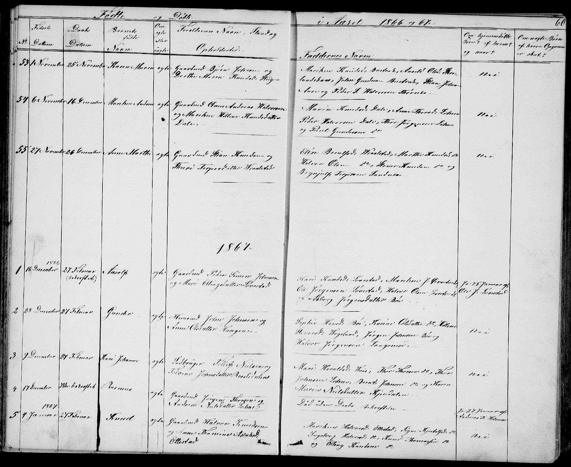 SAKO, Drangedal kirkebøker, G/Gb/L0001: Klokkerbok nr. II 1, 1856-1894, s. 60