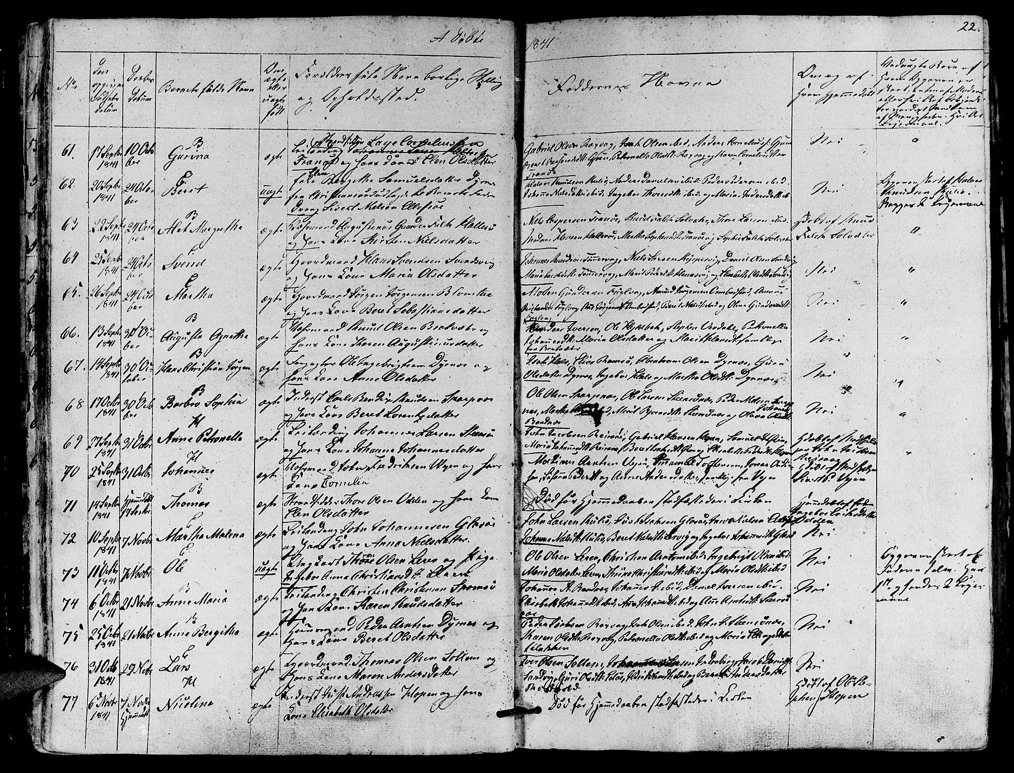 SAT, Ministerialprotokoller, klokkerbøker og fødselsregistre - Møre og Romsdal, 581/L0936: Ministerialbok nr. 581A04, 1836-1852, s. 22
