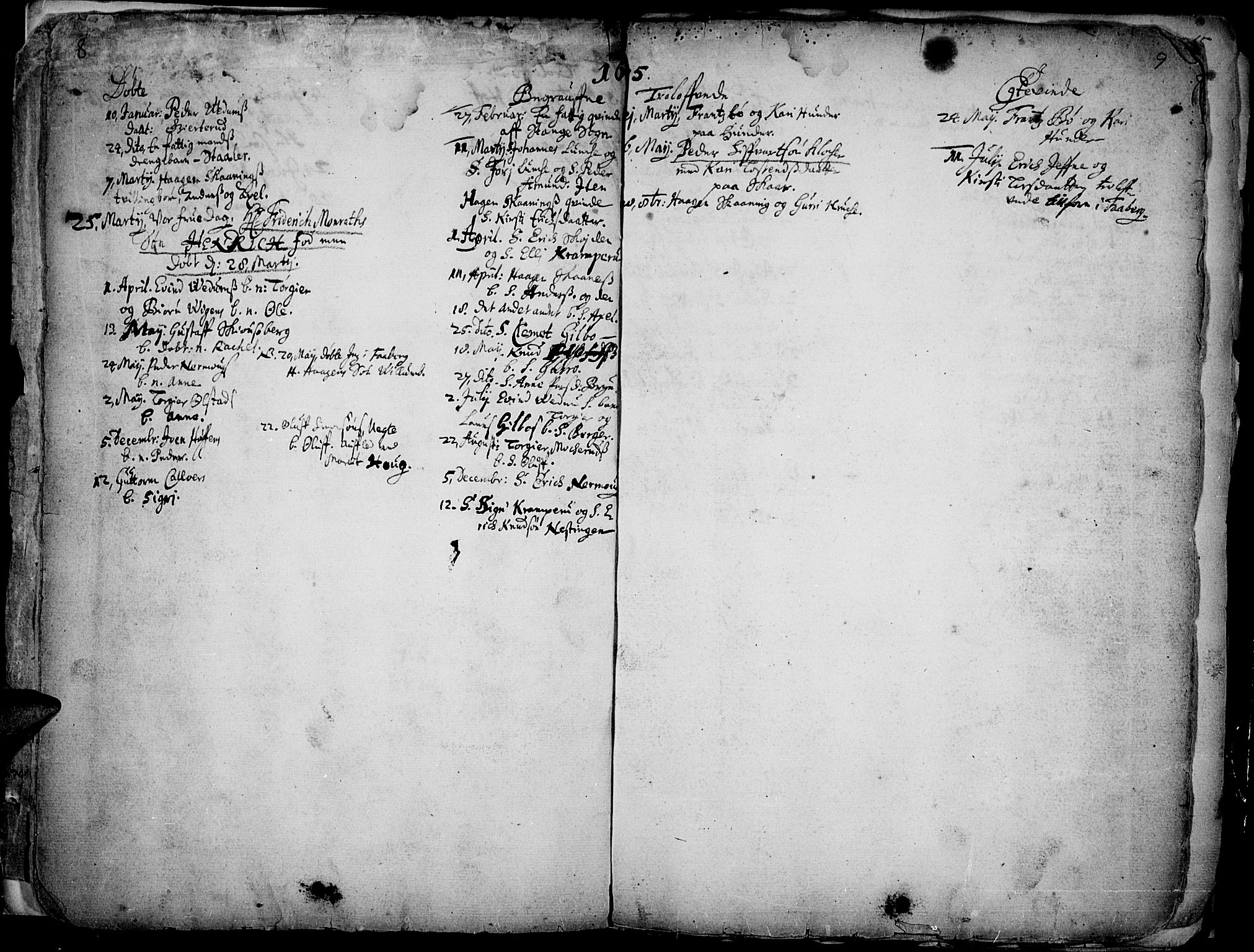 SAH, Øyer prestekontor, Ministerialbok nr. 1, 1671-1727, s. 8-9