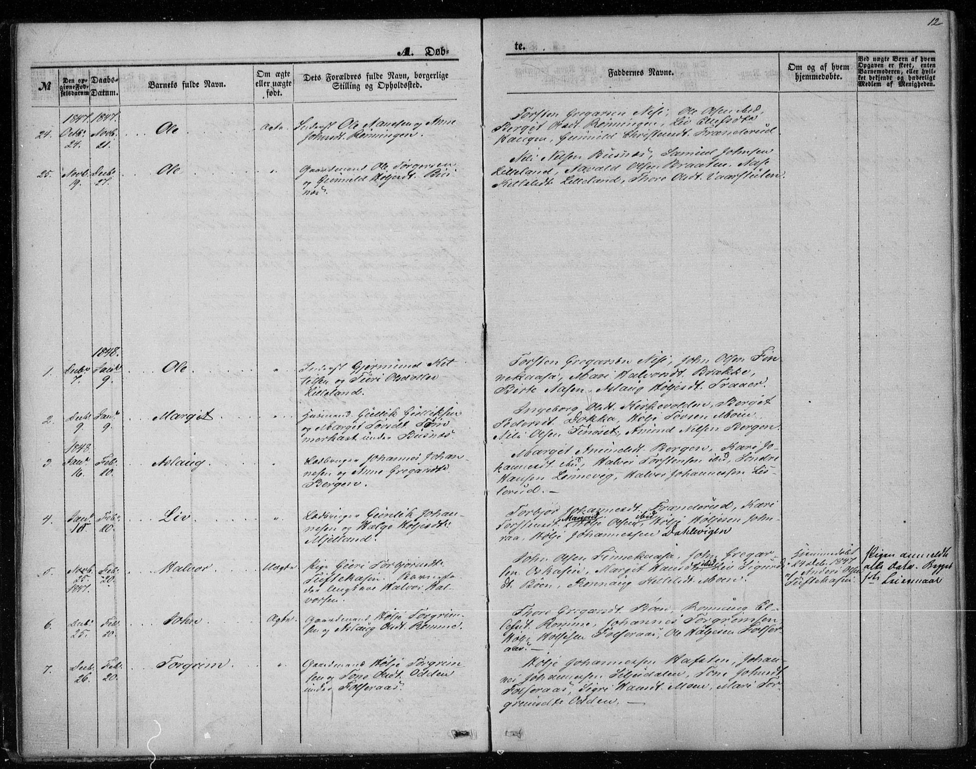 SAKO, Gransherad kirkebøker, F/Fa/L0002: Ministerialbok nr. I 2, 1844-1859, s. 12