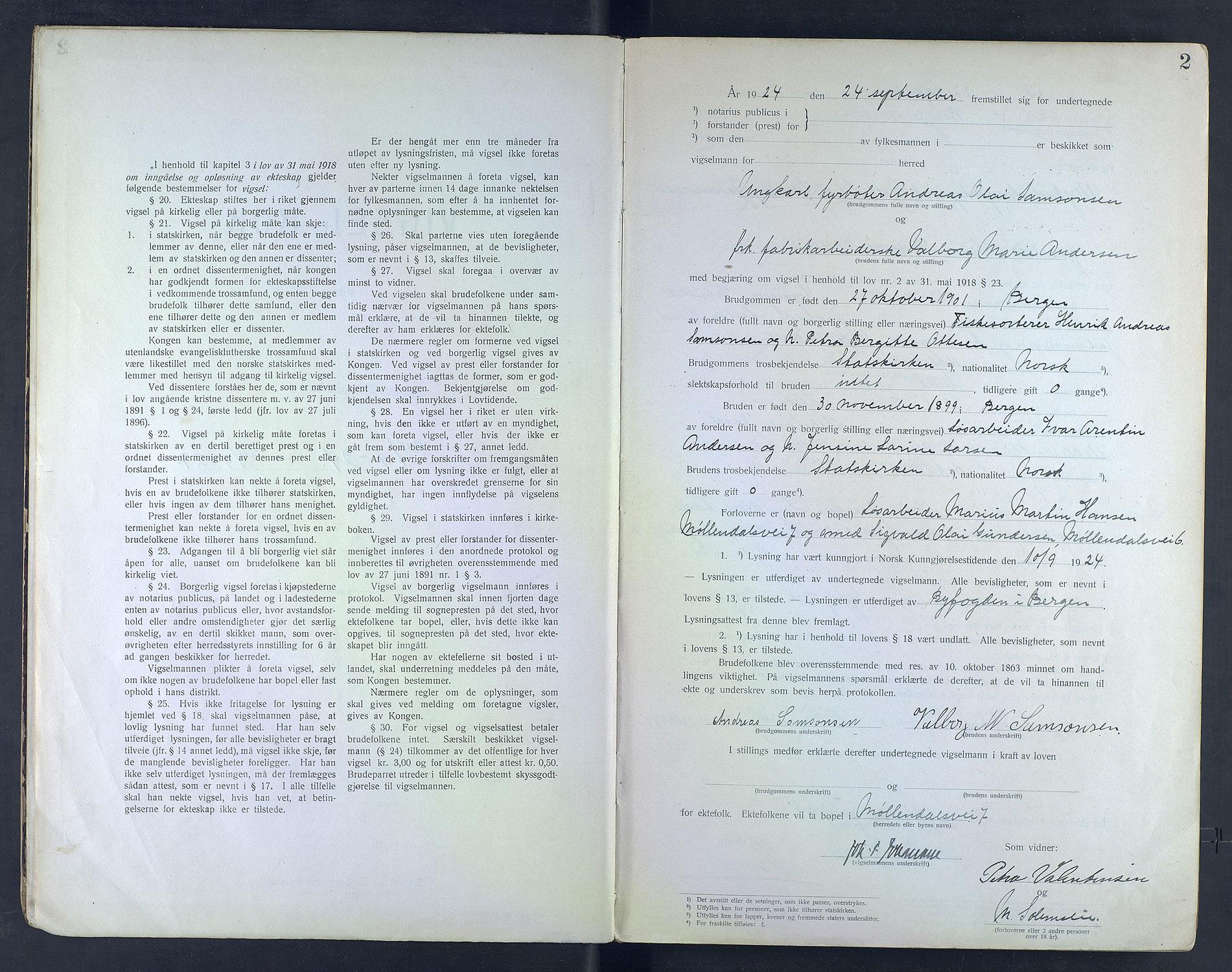 SAB, Byfogd og Byskriver i Bergen, 10/10F/L0003: Vielsesprotokoller, 1924-1927, s. 2