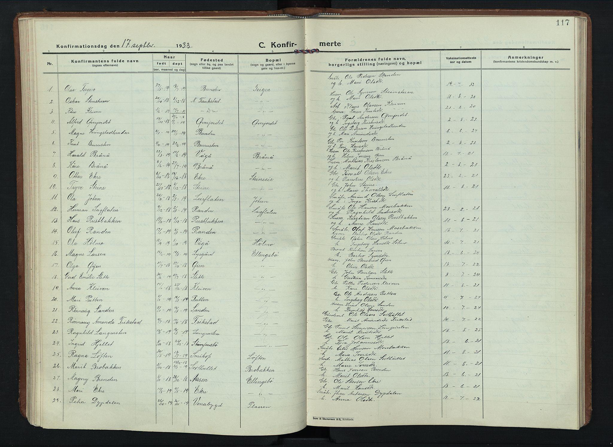 SAH, Sel prestekontor, Klokkerbok nr. 6, 1923-1953, s. 117