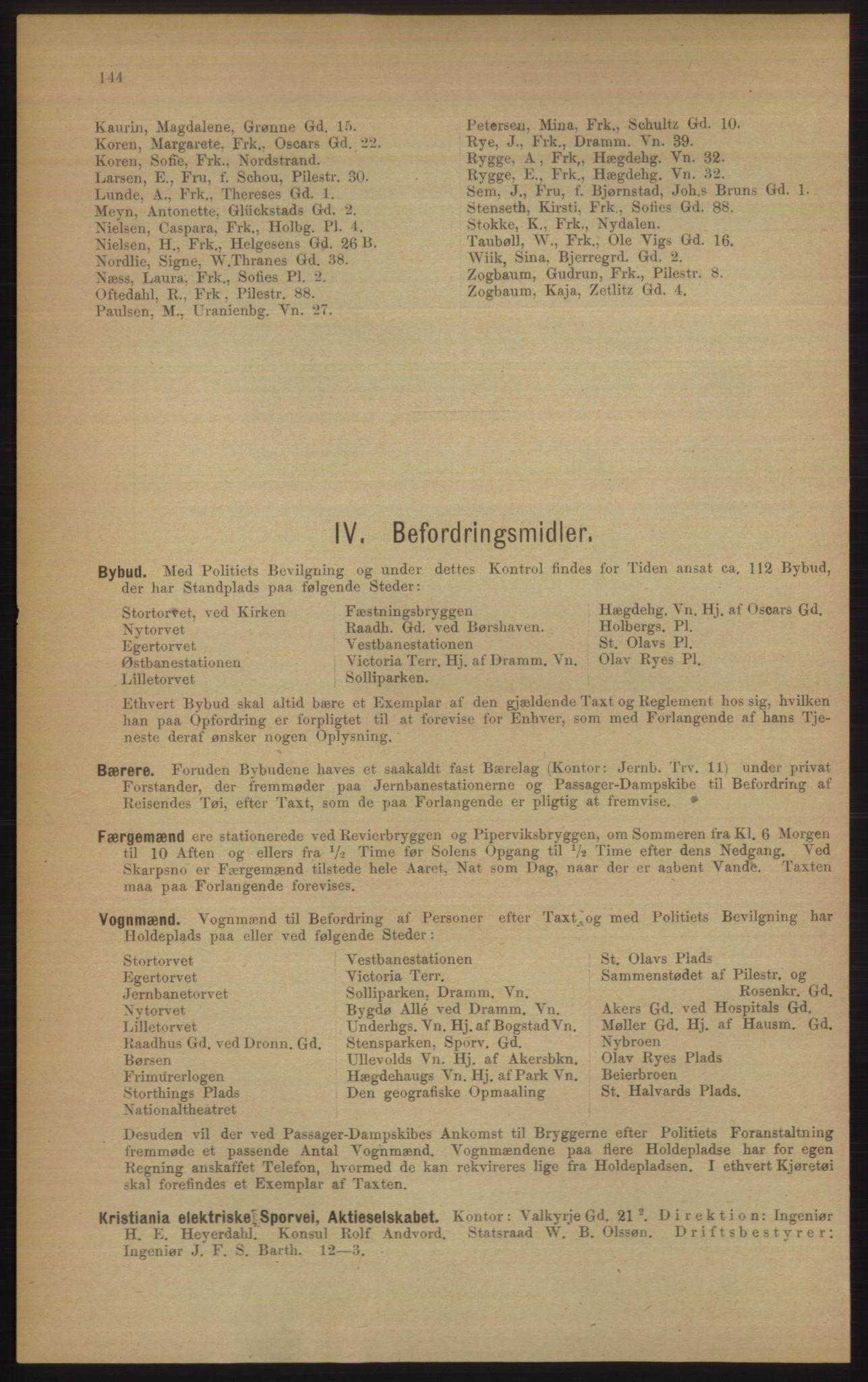 RA, Kristiania adressebok (publikasjon)*, 1906, s. 144