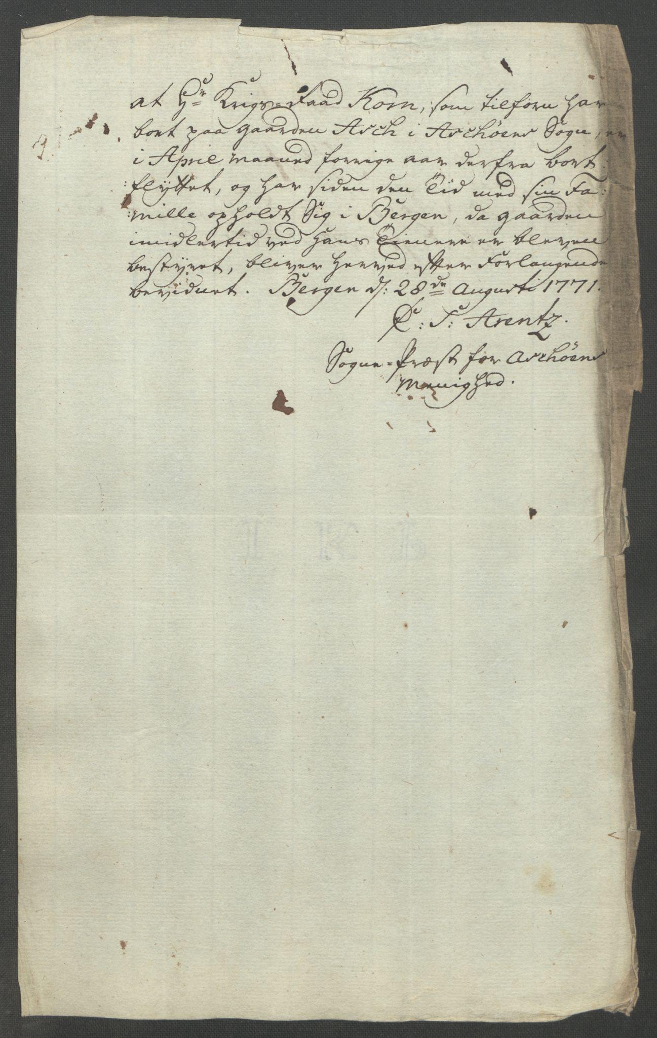 RA, Rentekammeret inntil 1814, Reviderte regnskaper, Fogderegnskap, R51/L3303: Ekstraskatten Nordhordland og Voss, 1762-1772, s. 405