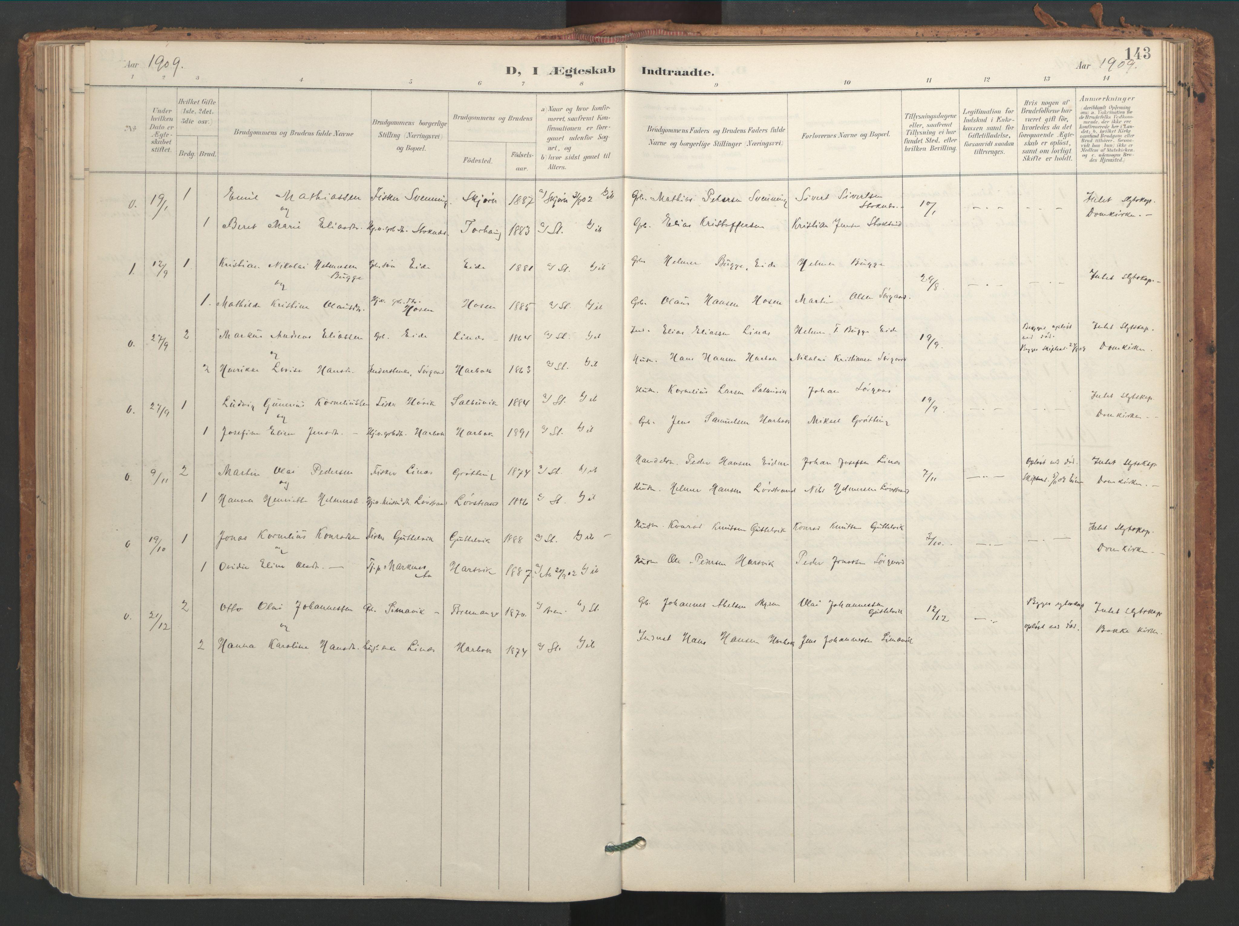 SAT, Ministerialprotokoller, klokkerbøker og fødselsregistre - Sør-Trøndelag, 656/L0693: Ministerialbok nr. 656A02, 1894-1913, s. 143