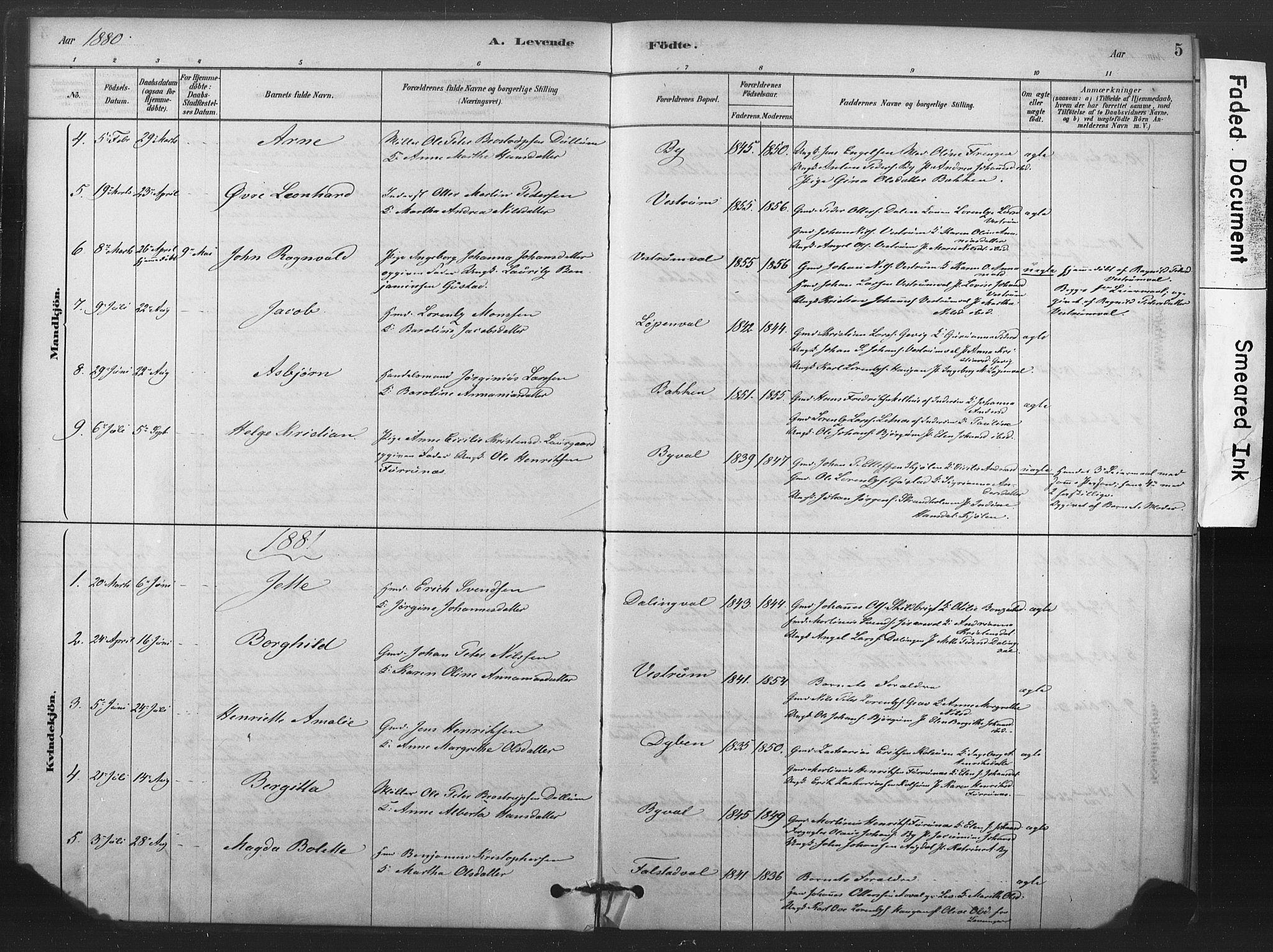 SAT, Ministerialprotokoller, klokkerbøker og fødselsregistre - Nord-Trøndelag, 719/L0178: Ministerialbok nr. 719A01, 1878-1900, s. 5
