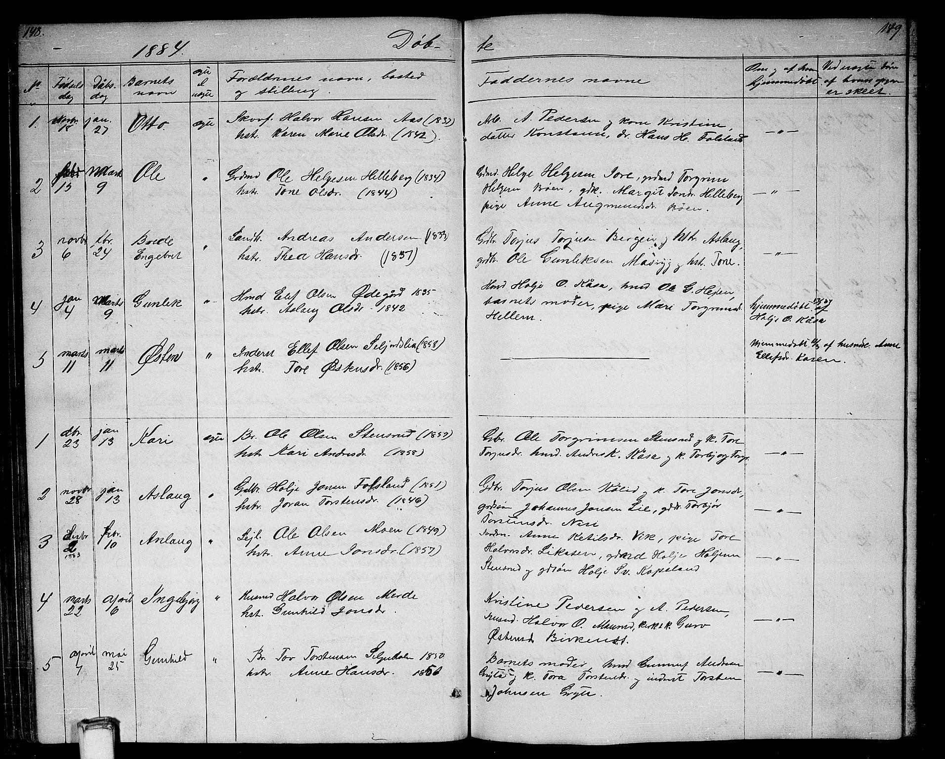 SAKO, Gransherad kirkebøker, G/Ga/L0002: Klokkerbok nr. I 2, 1854-1886, s. 148-149