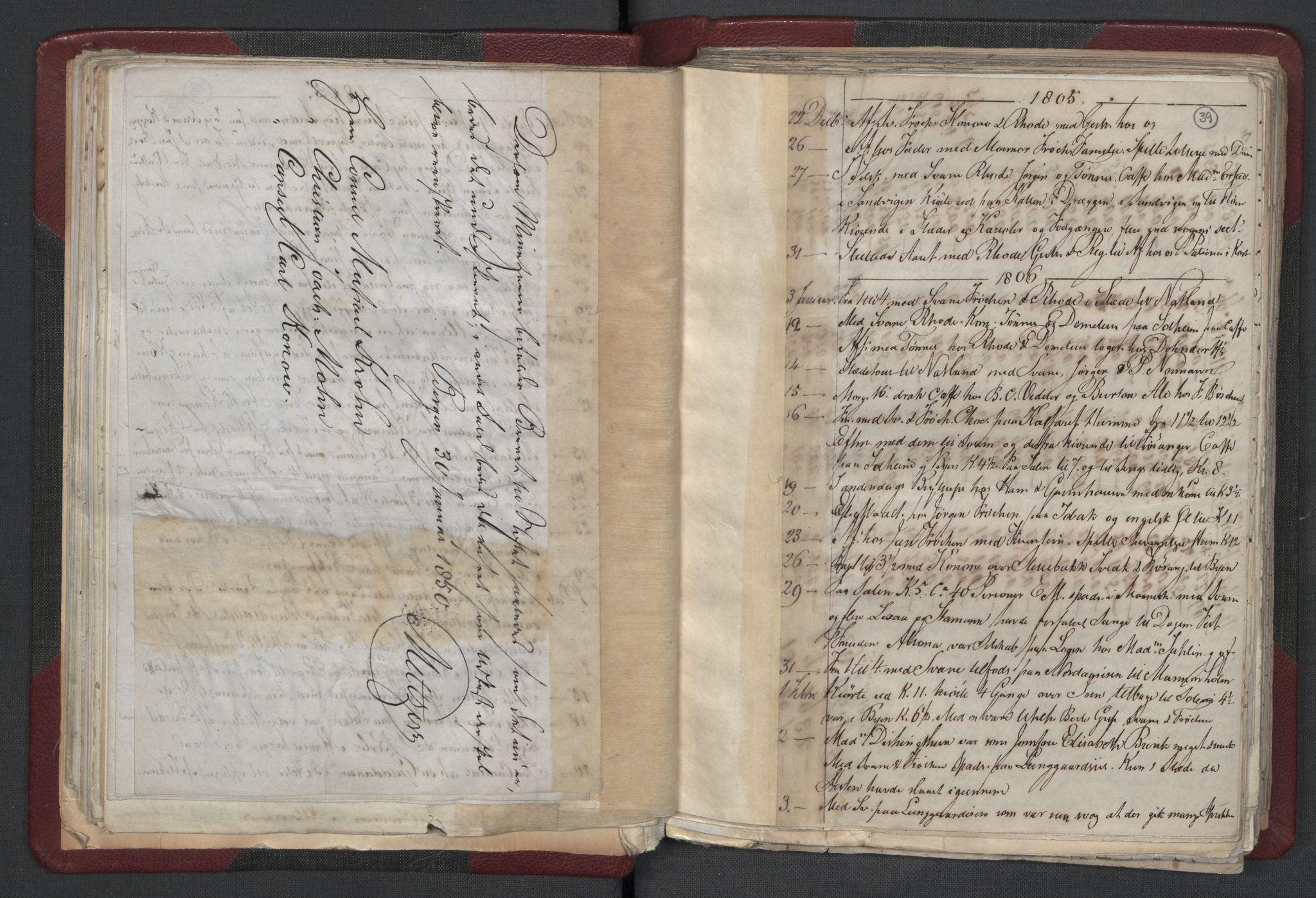 RA, Meltzer, Fredrik, F/L0001: Dagbok for årene 1796-1808, 1811, 1817, 1796-1817, s. 38b-39a