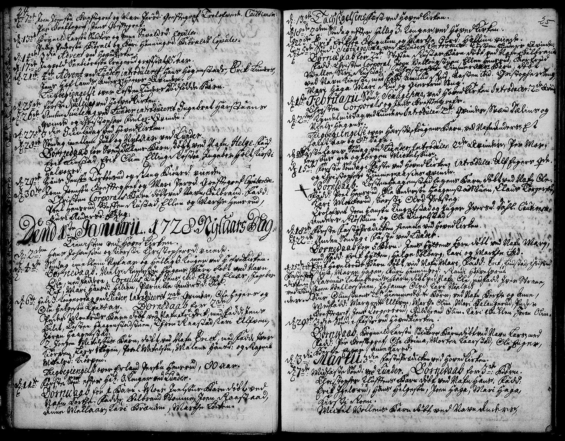 SAH, Jevnaker prestekontor, Ministerialbok nr. 2, 1725-1751, s. 24-25