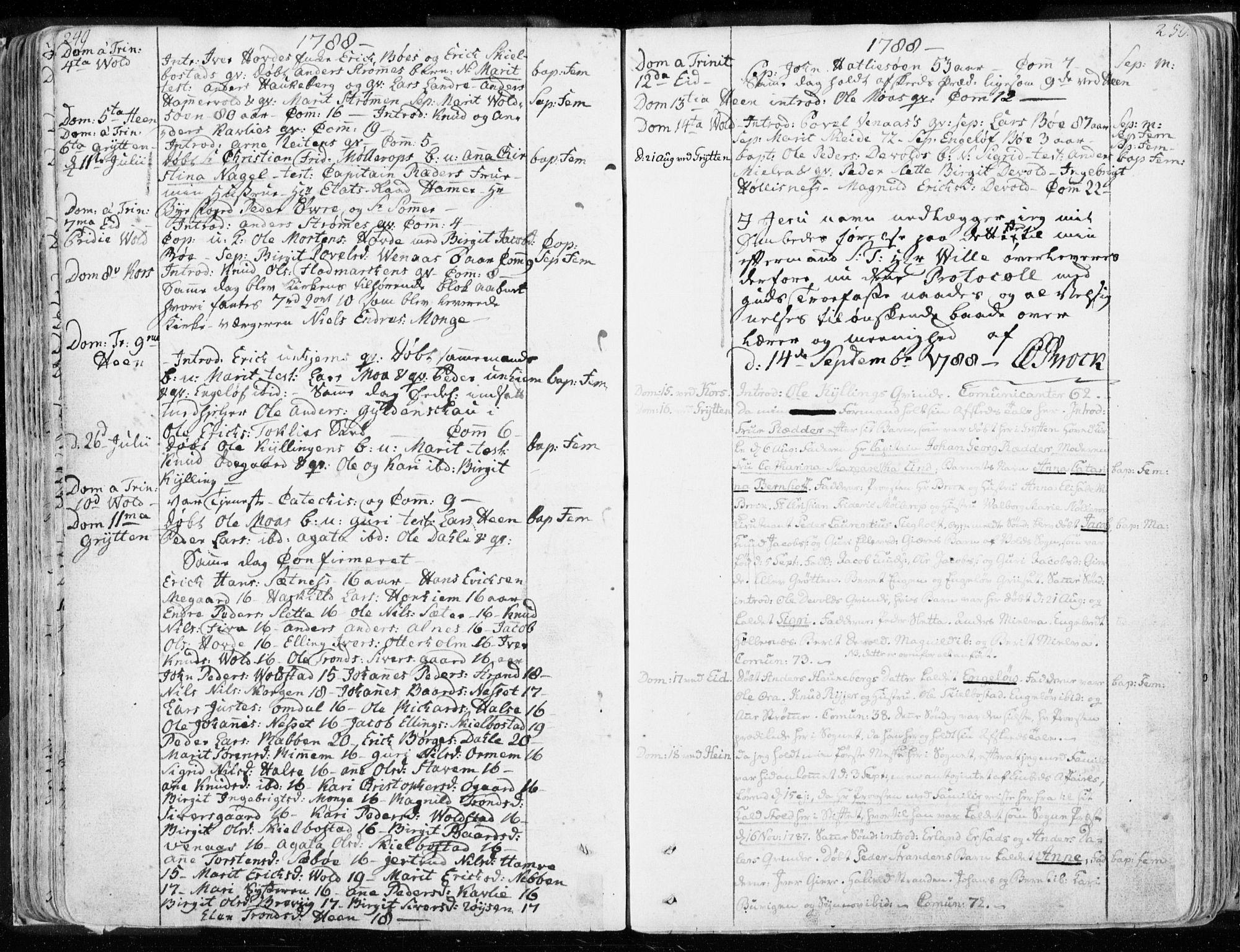SAT, Ministerialprotokoller, klokkerbøker og fødselsregistre - Møre og Romsdal, 544/L0569: Ministerialbok nr. 544A02, 1764-1806, s. 249-250