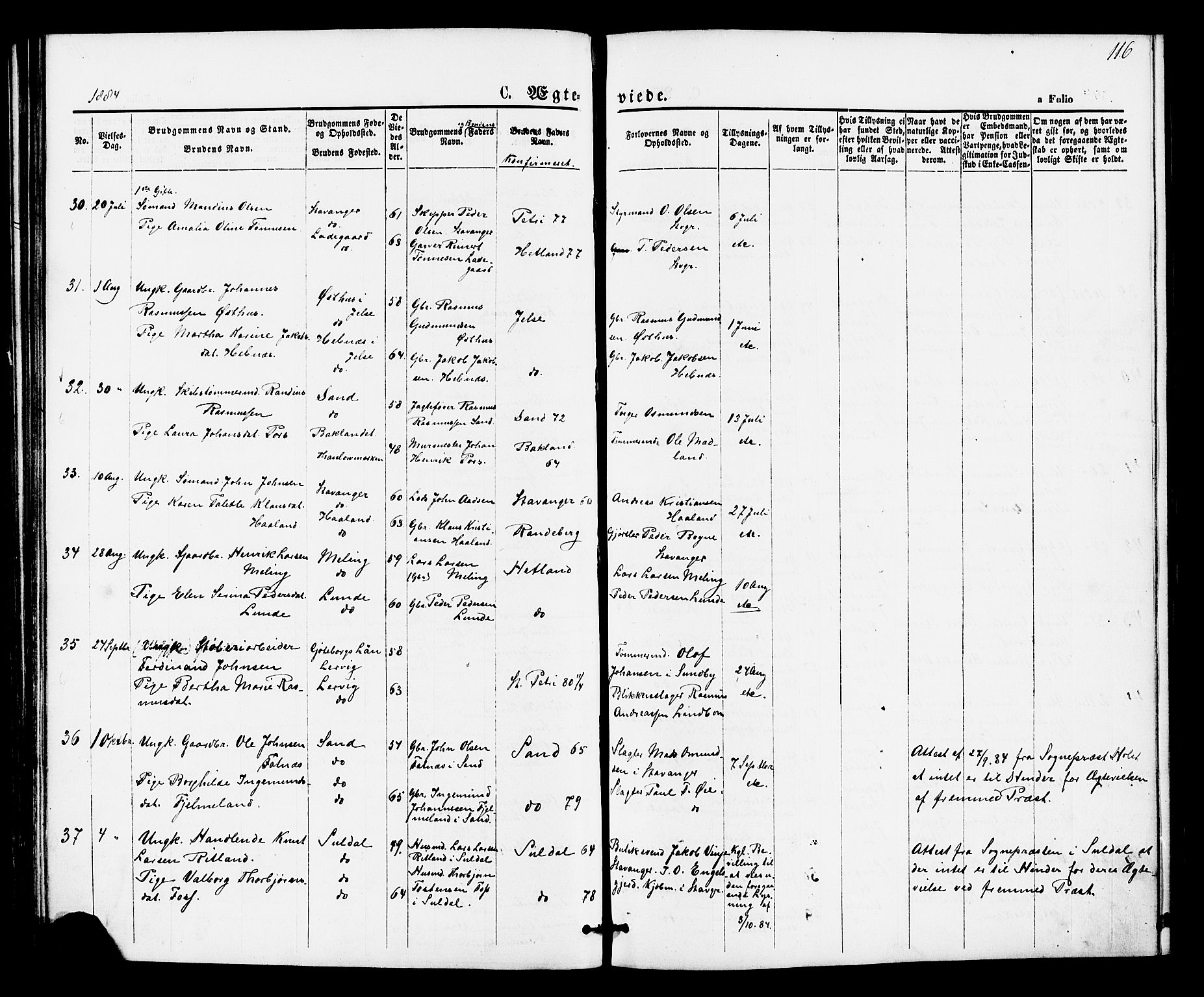 SAST, Hetland sokneprestkontor, 30/30BA/L0005: Ministerialbok nr. A 5, 1869-1884, s. 116