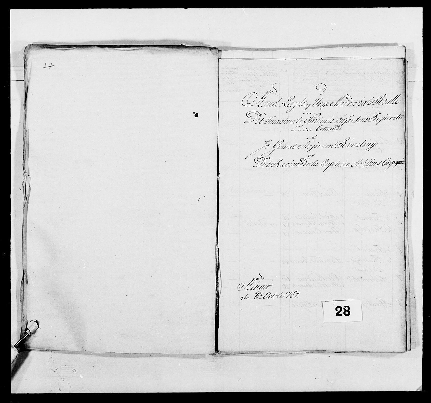 RA, Kommanderende general (KG I) med Det norske krigsdirektorium, E/Ea/L0496: 1. Smålenske regiment, 1765-1767, s. 509