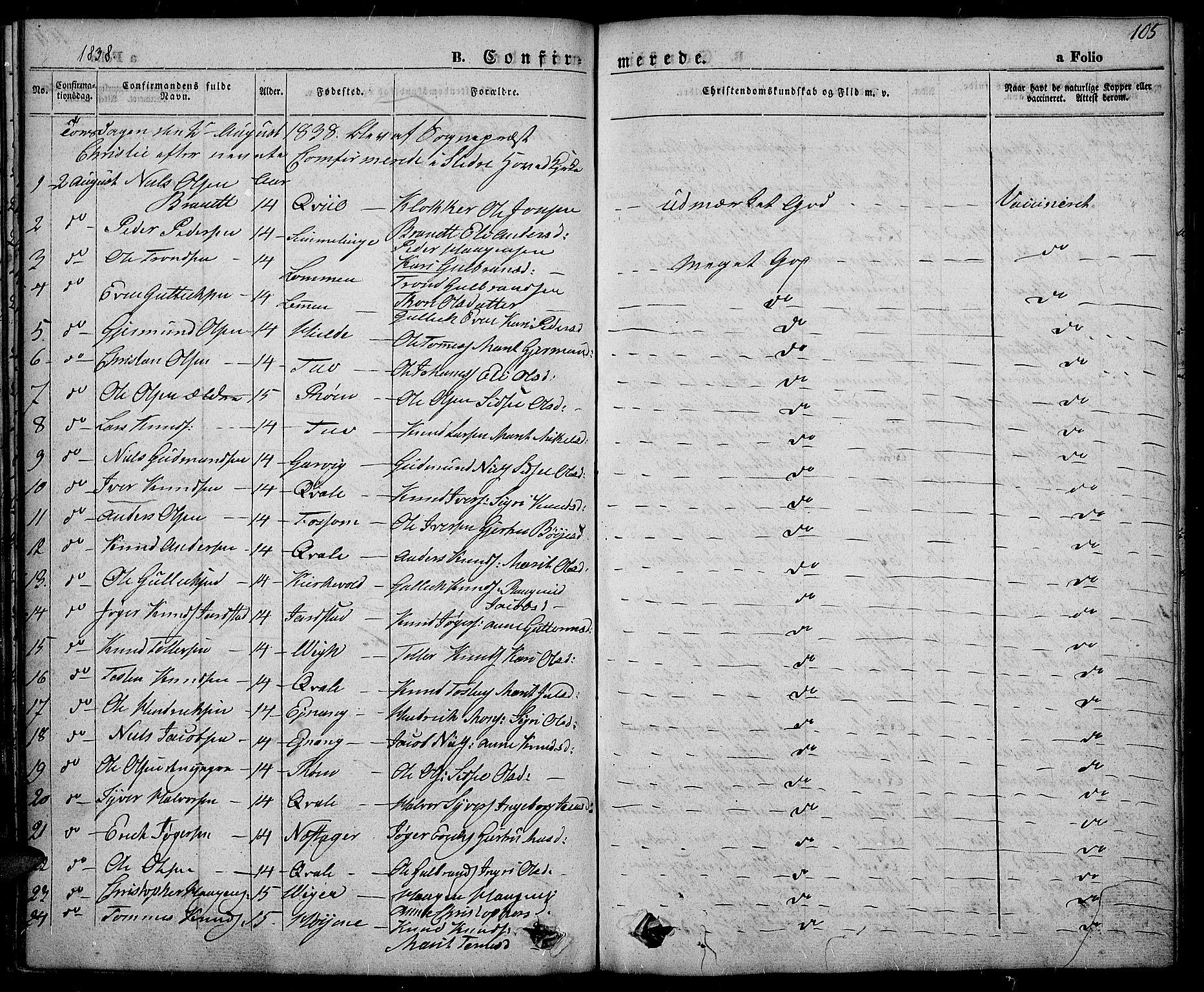 SAH, Slidre prestekontor, Ministerialbok nr. 3, 1831-1843, s. 105