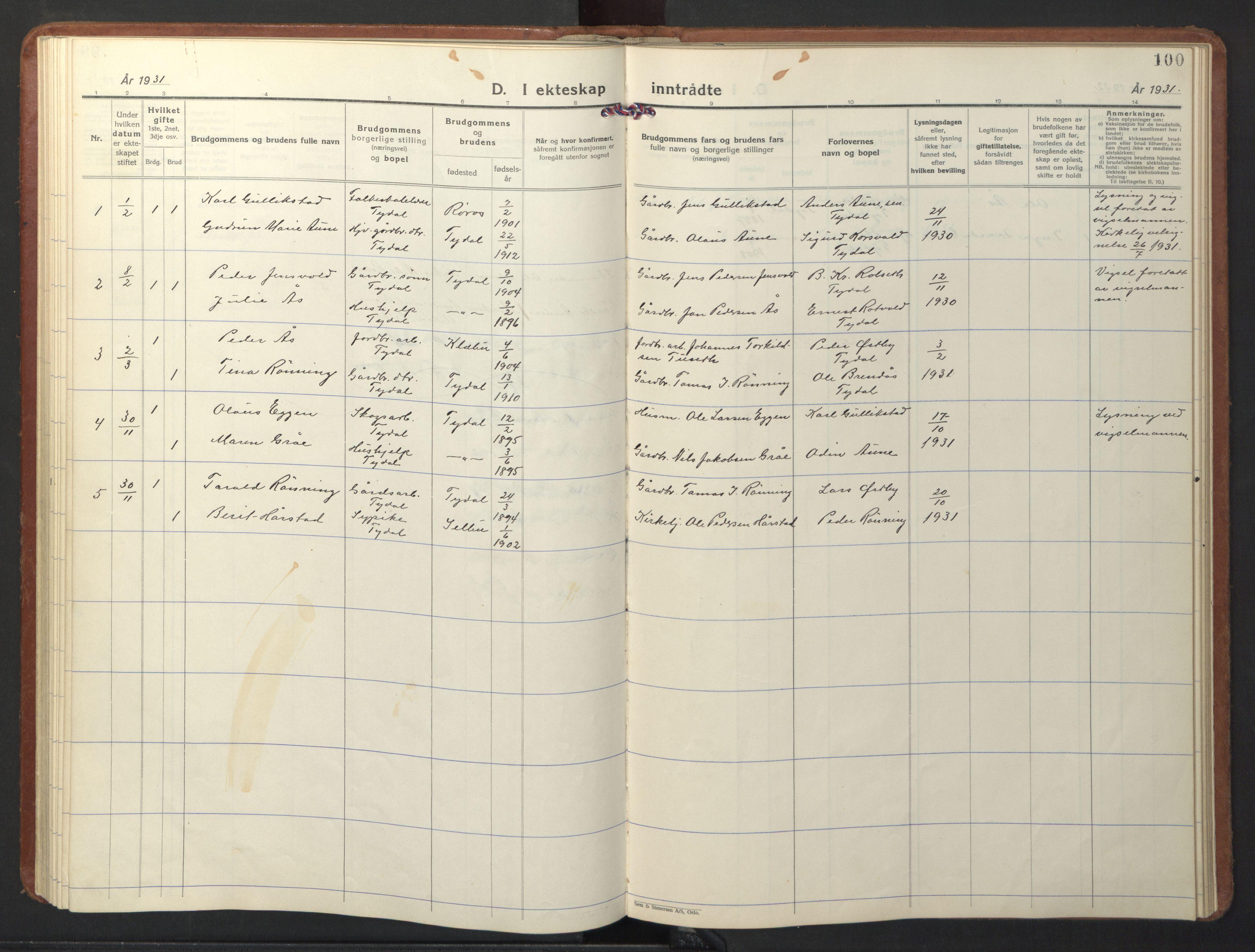 SAT, Ministerialprotokoller, klokkerbøker og fødselsregistre - Sør-Trøndelag, 698/L1169: Klokkerbok nr. 698C06, 1930-1949, s. 100