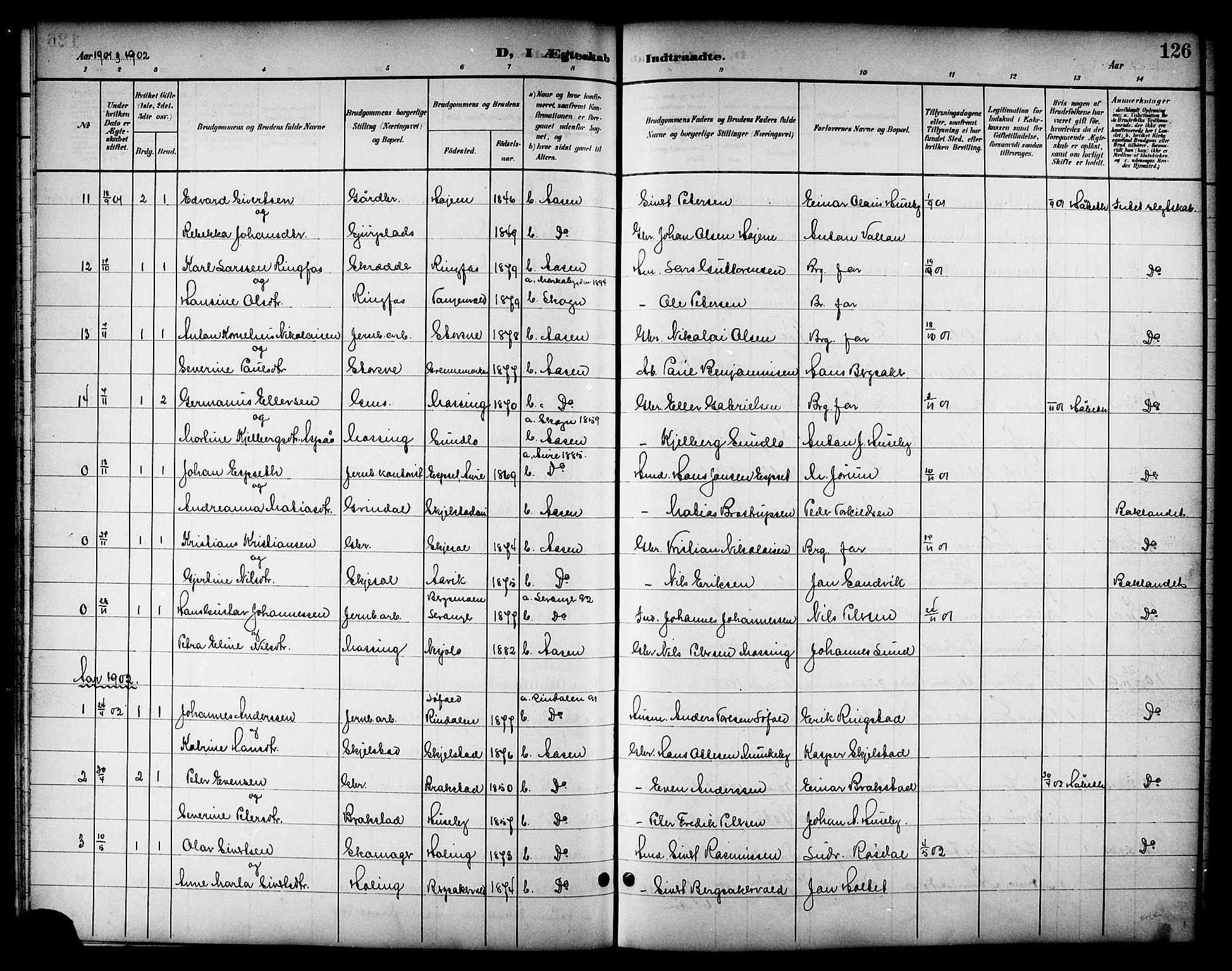 SAT, Ministerialprotokoller, klokkerbøker og fødselsregistre - Nord-Trøndelag, 714/L0135: Klokkerbok nr. 714C04, 1899-1918, s. 126