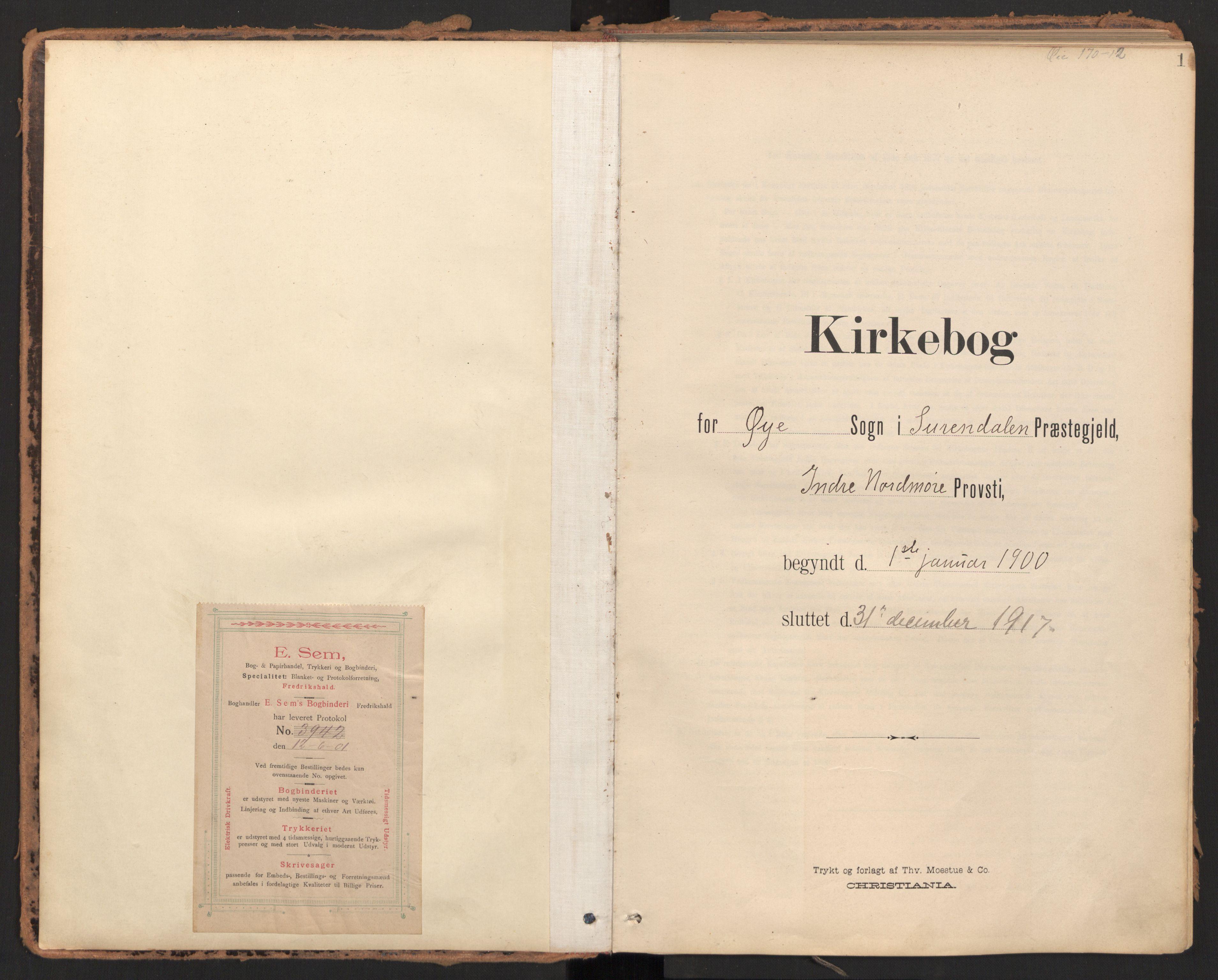 SAT, Ministerialprotokoller, klokkerbøker og fødselsregistre - Møre og Romsdal, 595/L1048: Ministerialbok nr. 595A10, 1900-1917, s. 1