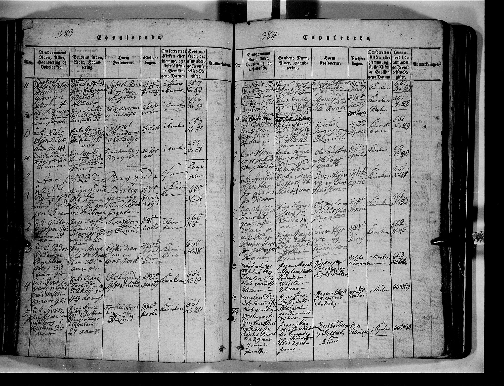SAH, Lom prestekontor, L/L0003: Klokkerbok nr. 3, 1815-1844, s. 383-384