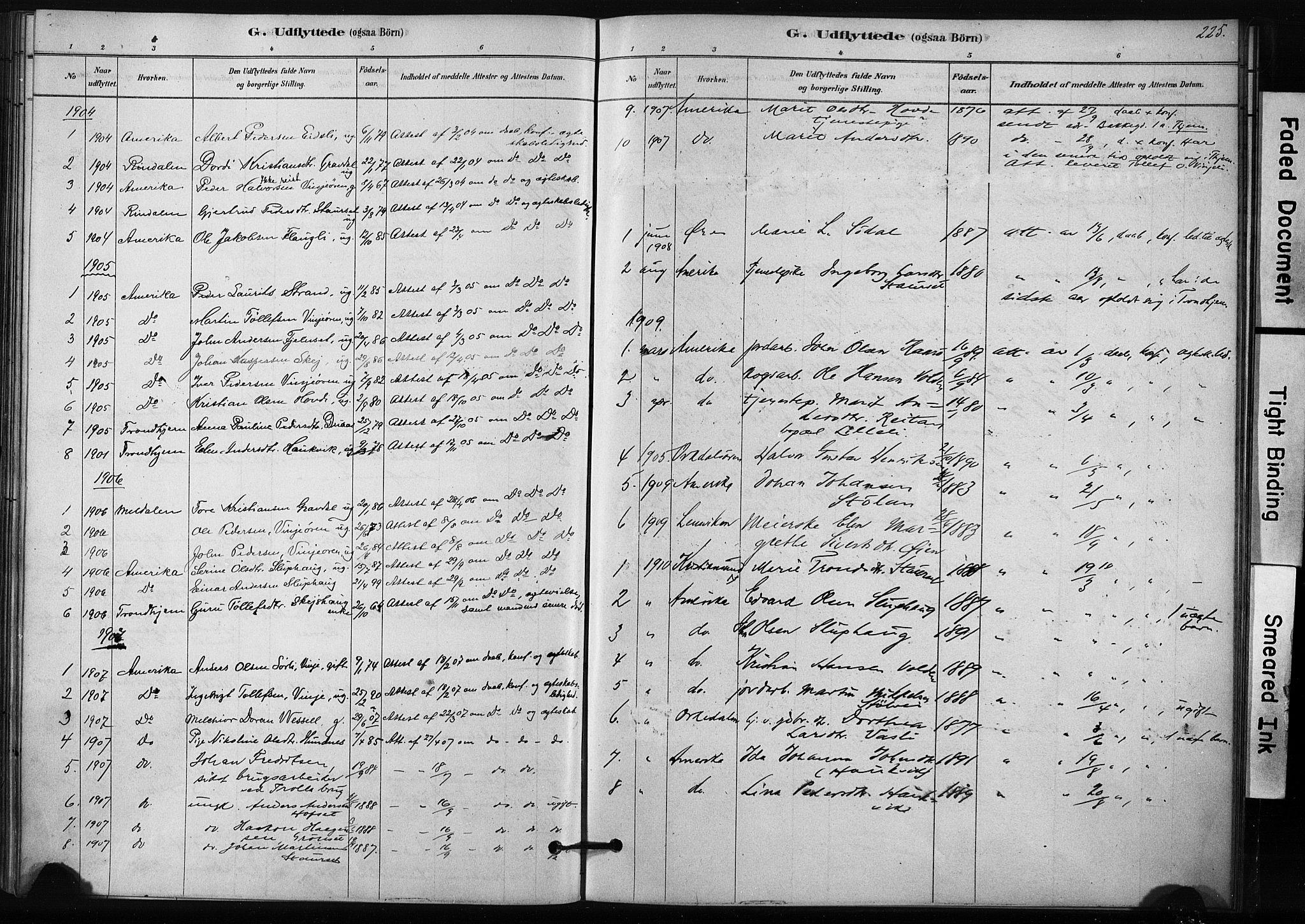 SAT, Ministerialprotokoller, klokkerbøker og fødselsregistre - Sør-Trøndelag, 631/L0512: Ministerialbok nr. 631A01, 1879-1912, s. 225