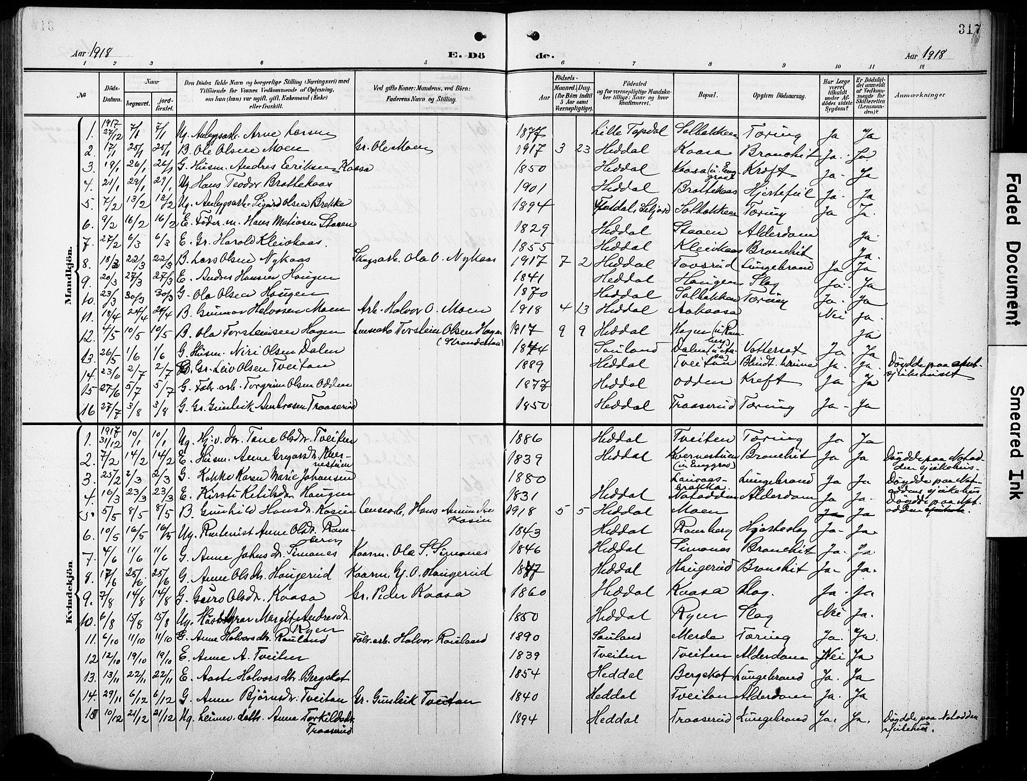 SAKO, Heddal kirkebøker, G/Ga/L0003: Klokkerbok nr. I 3, 1908-1932, s. 317