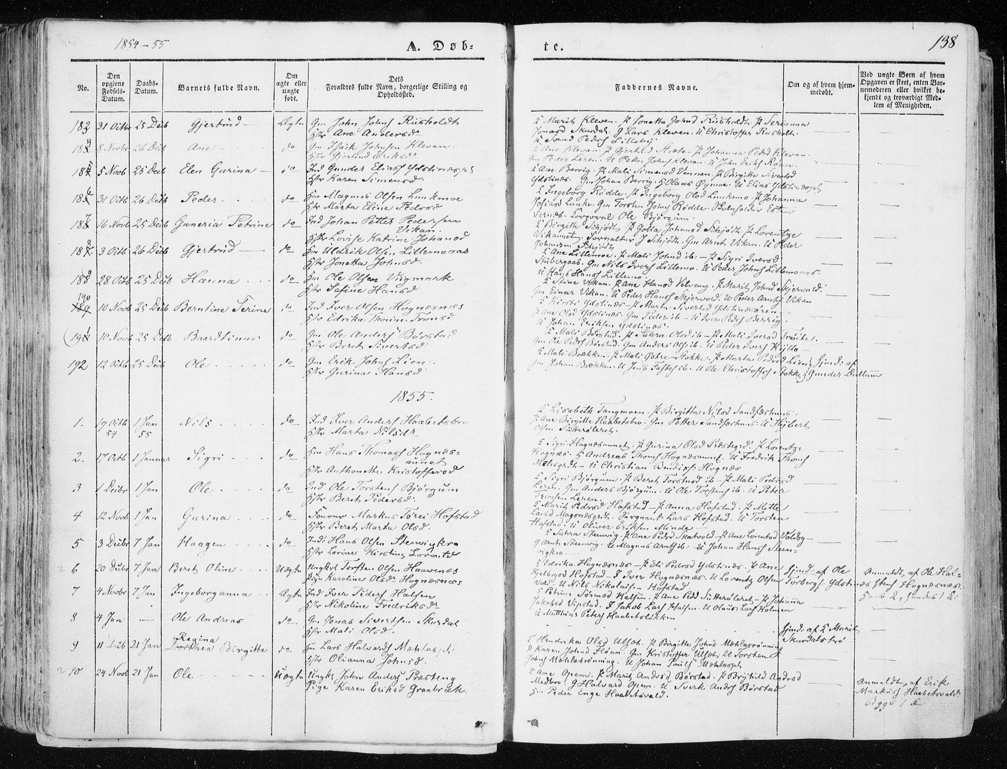 SAT, Ministerialprotokoller, klokkerbøker og fødselsregistre - Nord-Trøndelag, 709/L0074: Ministerialbok nr. 709A14, 1845-1858, s. 138