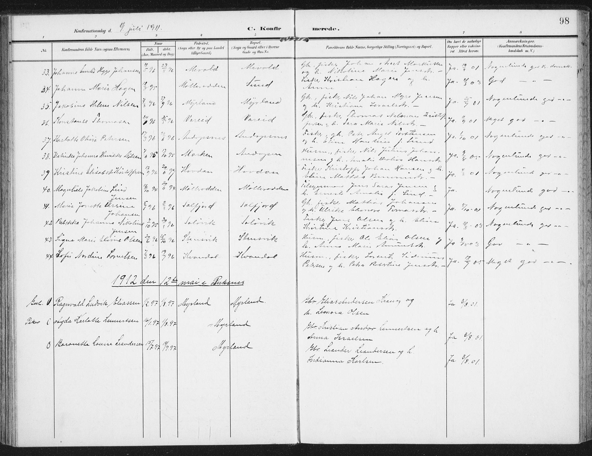 SAT, Ministerialprotokoller, klokkerbøker og fødselsregistre - Nordland, 885/L1206: Ministerialbok nr. 885A07, 1905-1915, s. 98