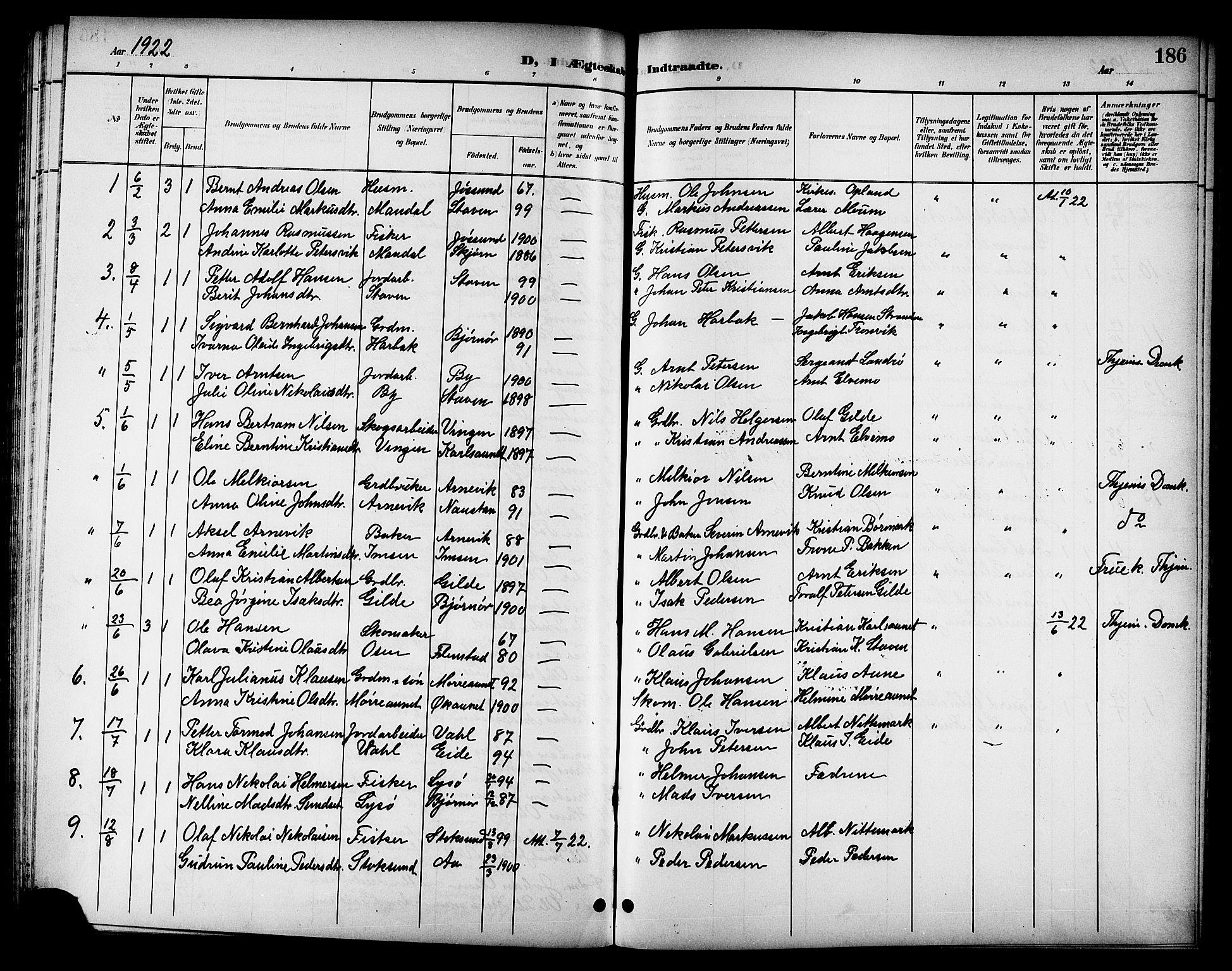 SAT, Ministerialprotokoller, klokkerbøker og fødselsregistre - Sør-Trøndelag, 655/L0688: Klokkerbok nr. 655C04, 1899-1922, s. 186