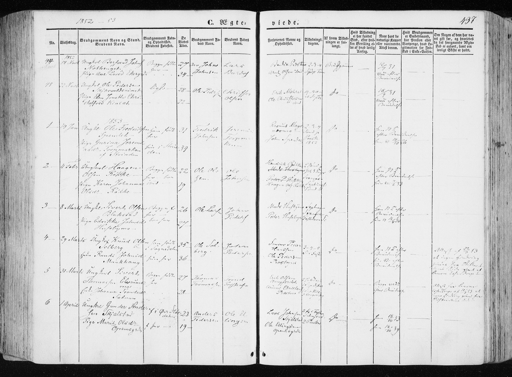 SAT, Ministerialprotokoller, klokkerbøker og fødselsregistre - Nord-Trøndelag, 709/L0074: Ministerialbok nr. 709A14, 1845-1858, s. 437