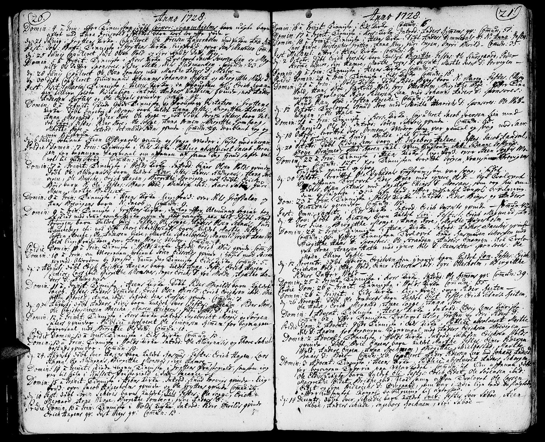 SAT, Ministerialprotokoller, klokkerbøker og fødselsregistre - Møre og Romsdal, 544/L0568: Ministerialbok nr. 544A01, 1725-1763, s. 20-21