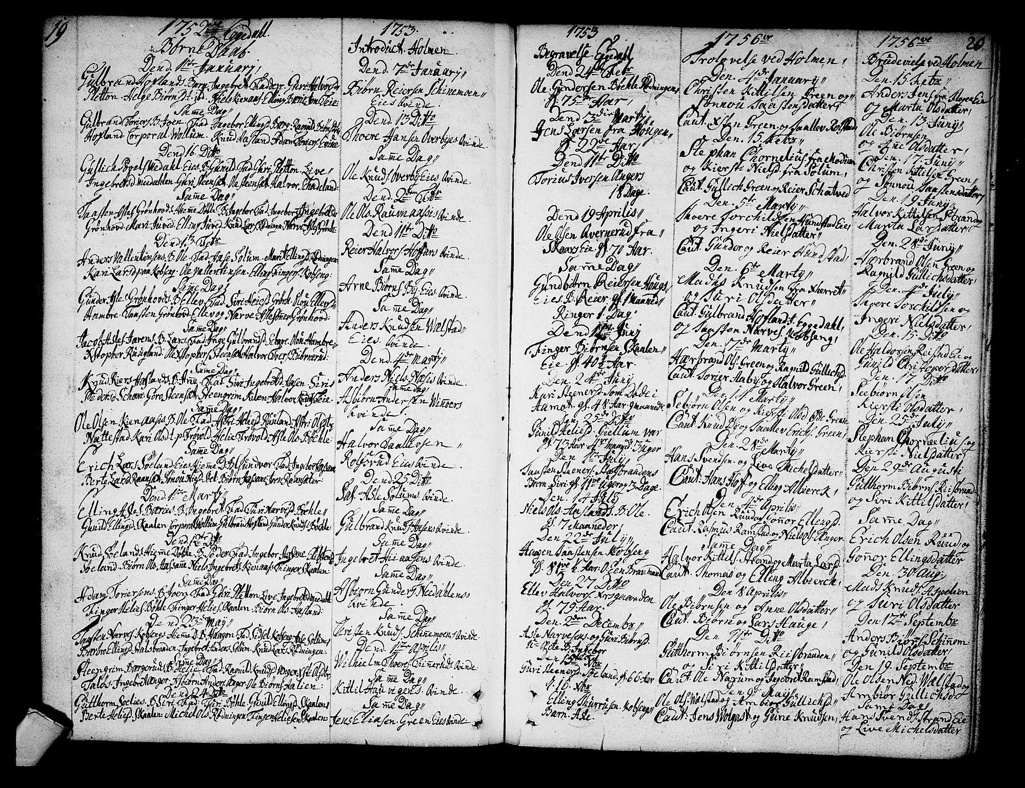 SAKO, Sigdal kirkebøker, F/Fa/L0001: Ministerialbok nr. I 1, 1722-1777, s. 19-20