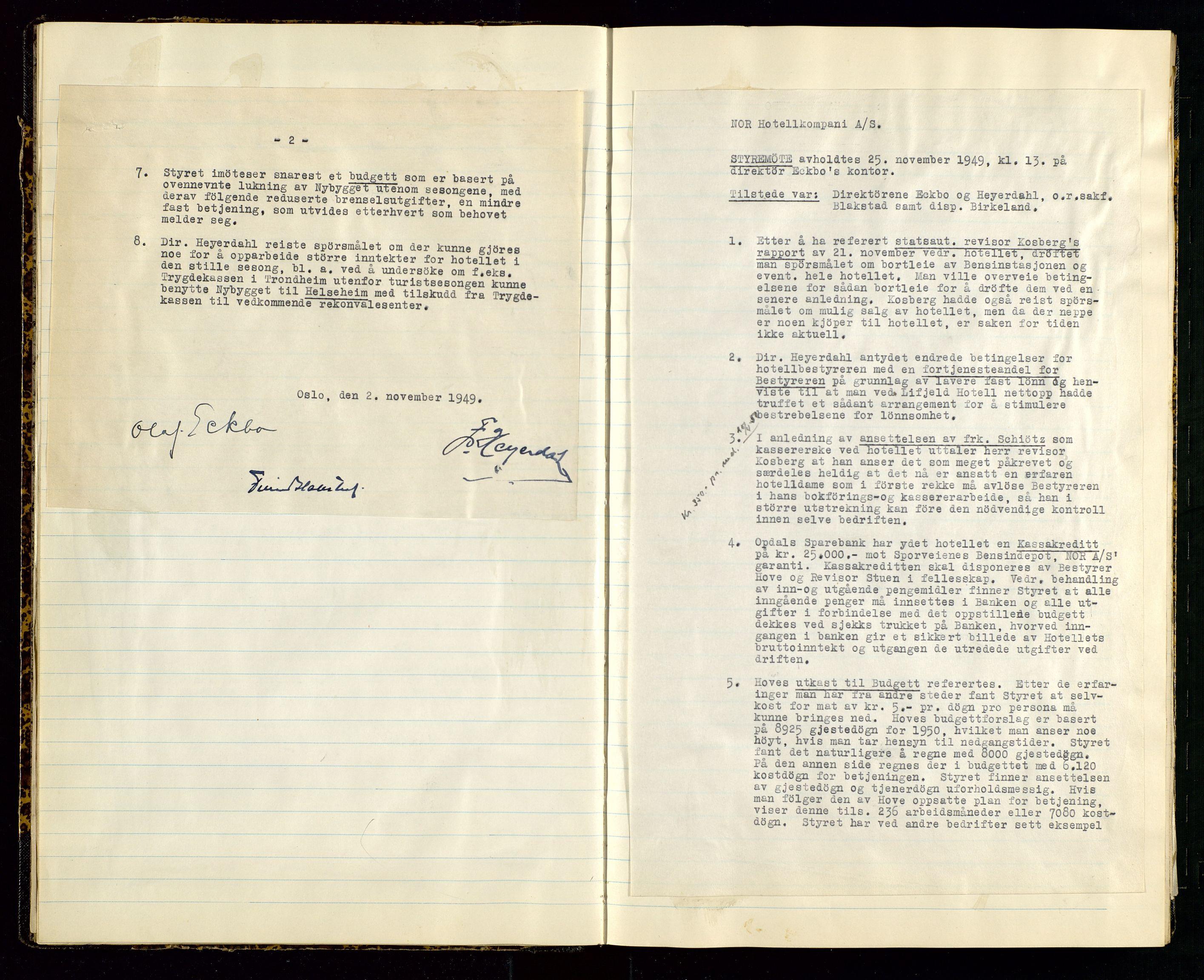 SAST, PA 1516 - Nor Hotellkompani A/S, A/L0001: Referatprotokoll, 1948-1855, s. 11