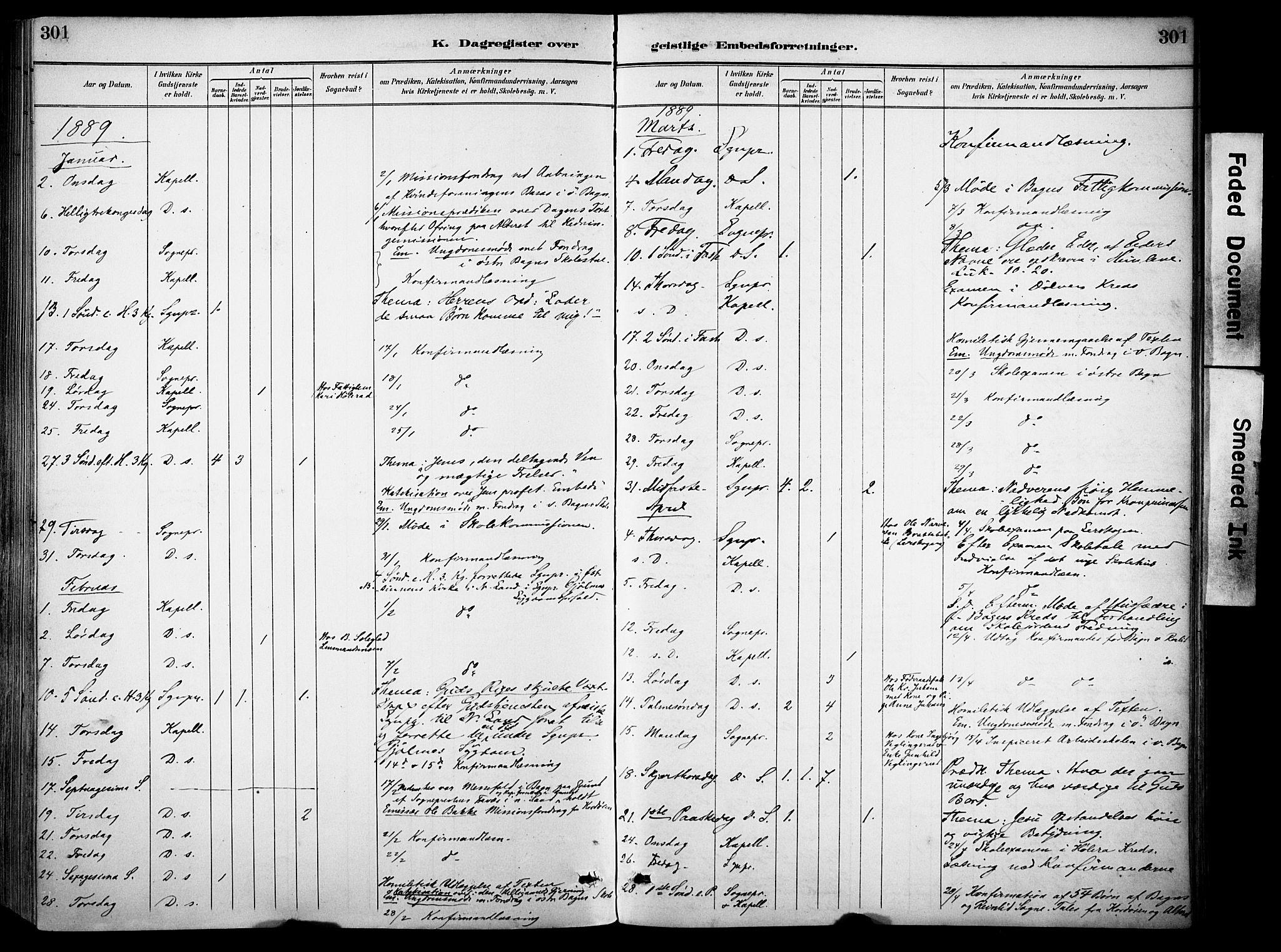 SAH, Sør-Aurdal prestekontor, Ministerialbok nr. 9, 1886-1906, s. 301