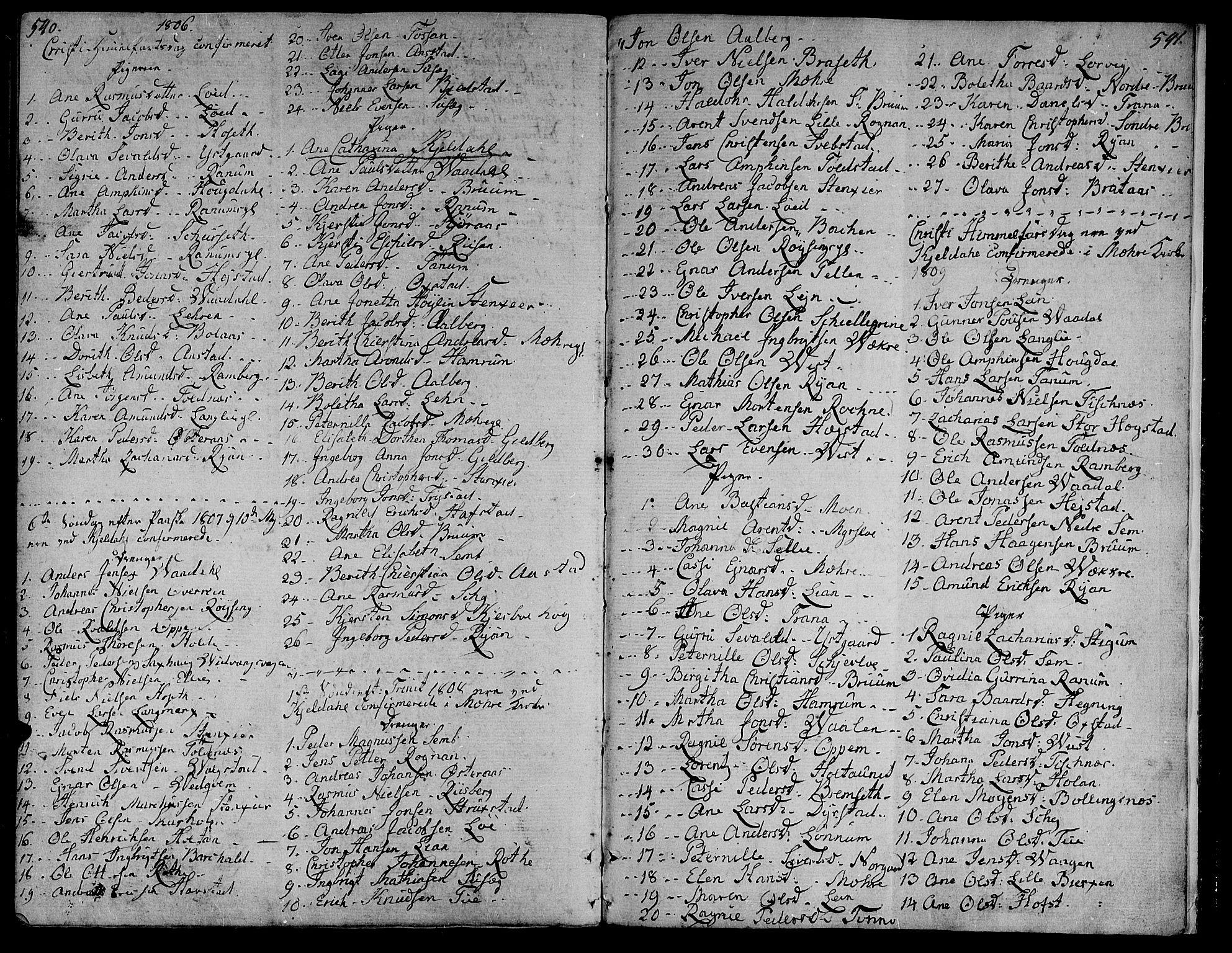 SAT, Ministerialprotokoller, klokkerbøker og fødselsregistre - Nord-Trøndelag, 735/L0332: Ministerialbok nr. 735A03, 1795-1816, s. 540-541