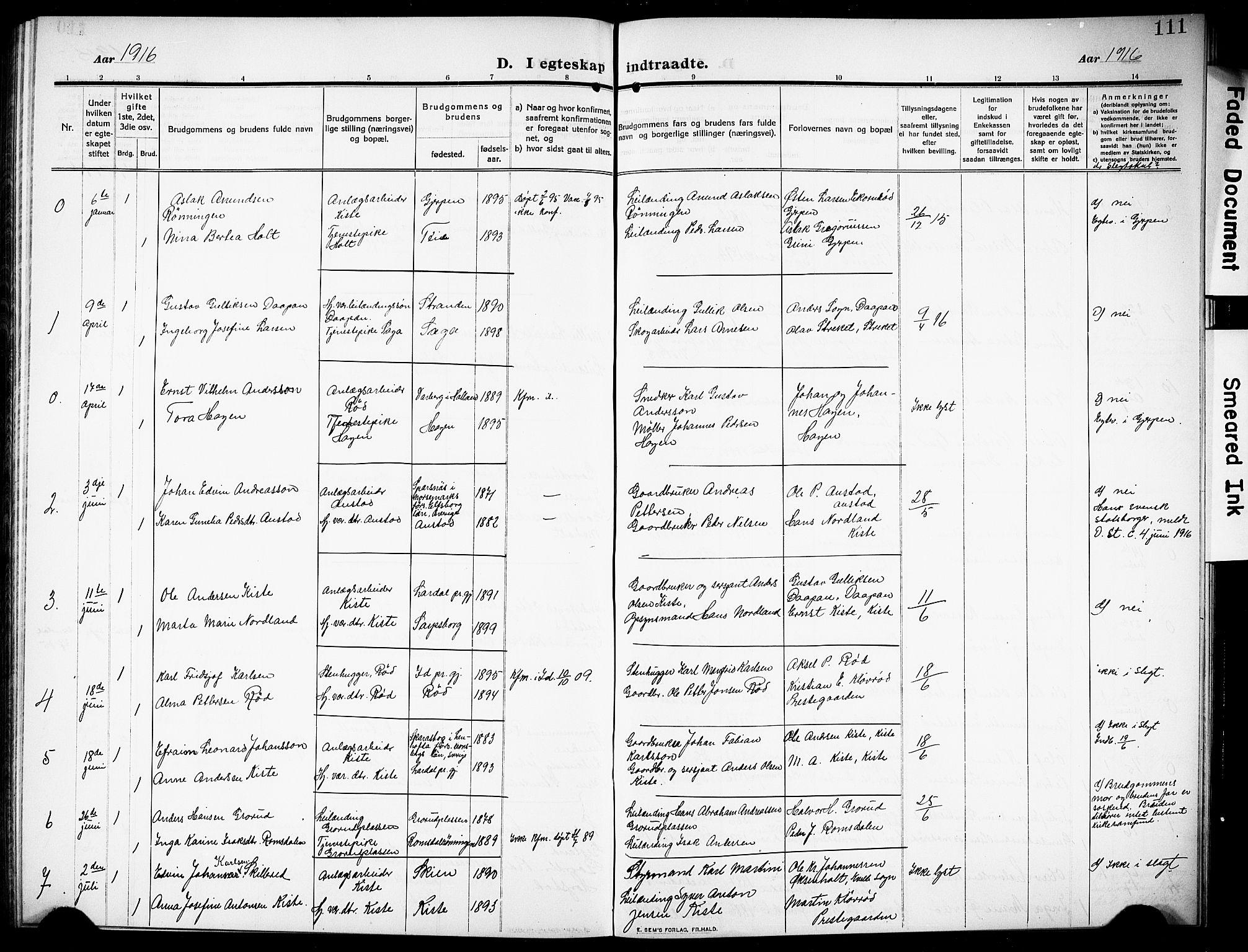 SAKO, Siljan kirkebøker, G/Ga/L0003: Klokkerbok nr. 3, 1909-1927, s. 111