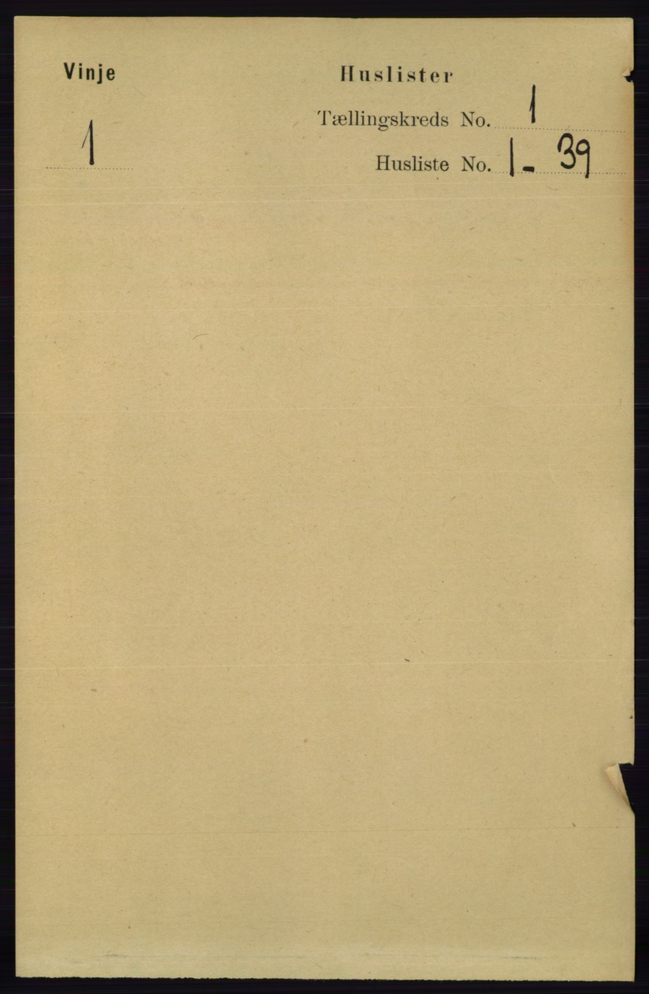 RA, Folketelling 1891 for 0834 Vinje herred, 1891, s. 19