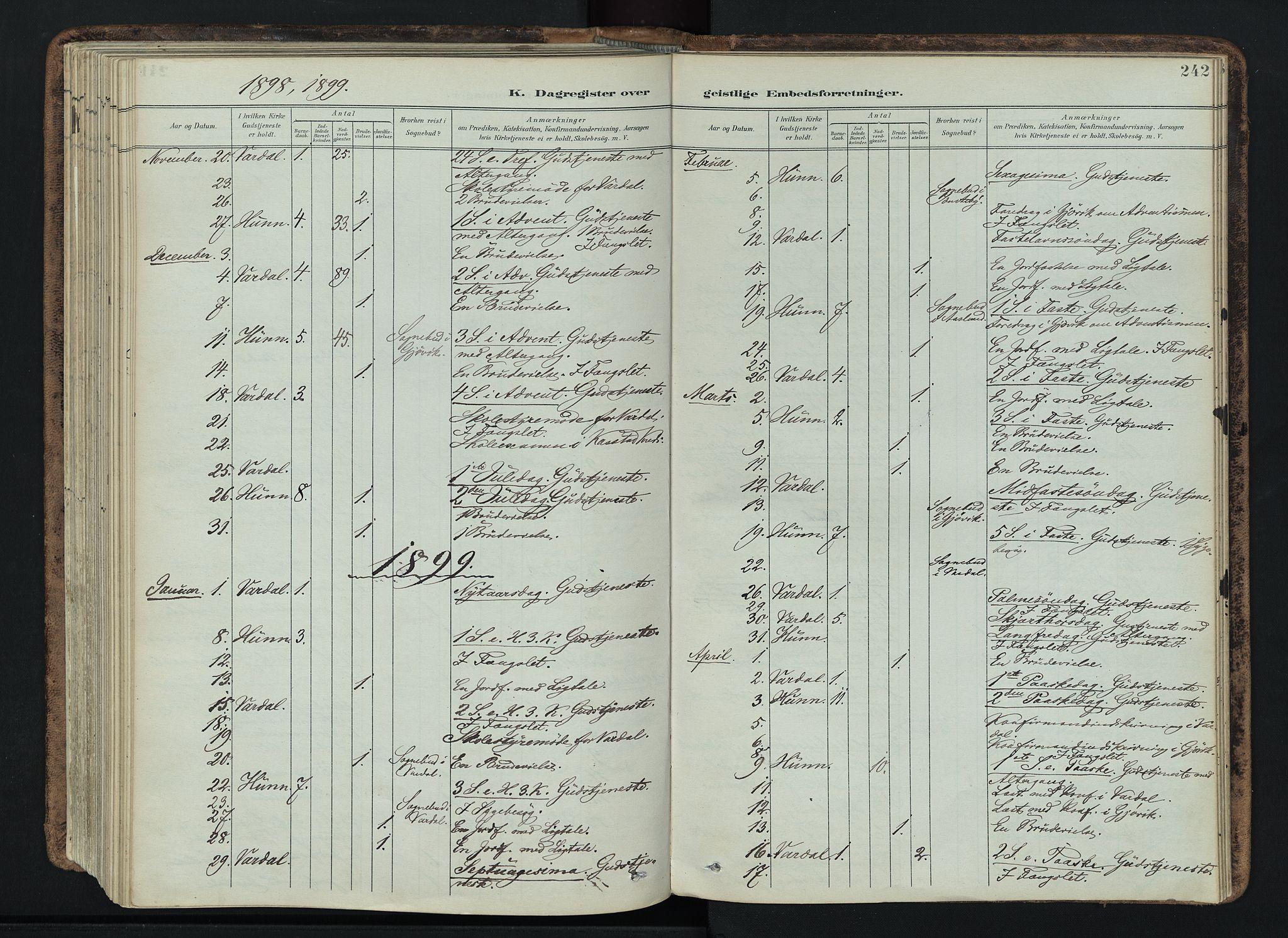 SAH, Vardal prestekontor, H/Ha/Haa/L0019: Ministerialbok nr. 19, 1893-1907, s. 242