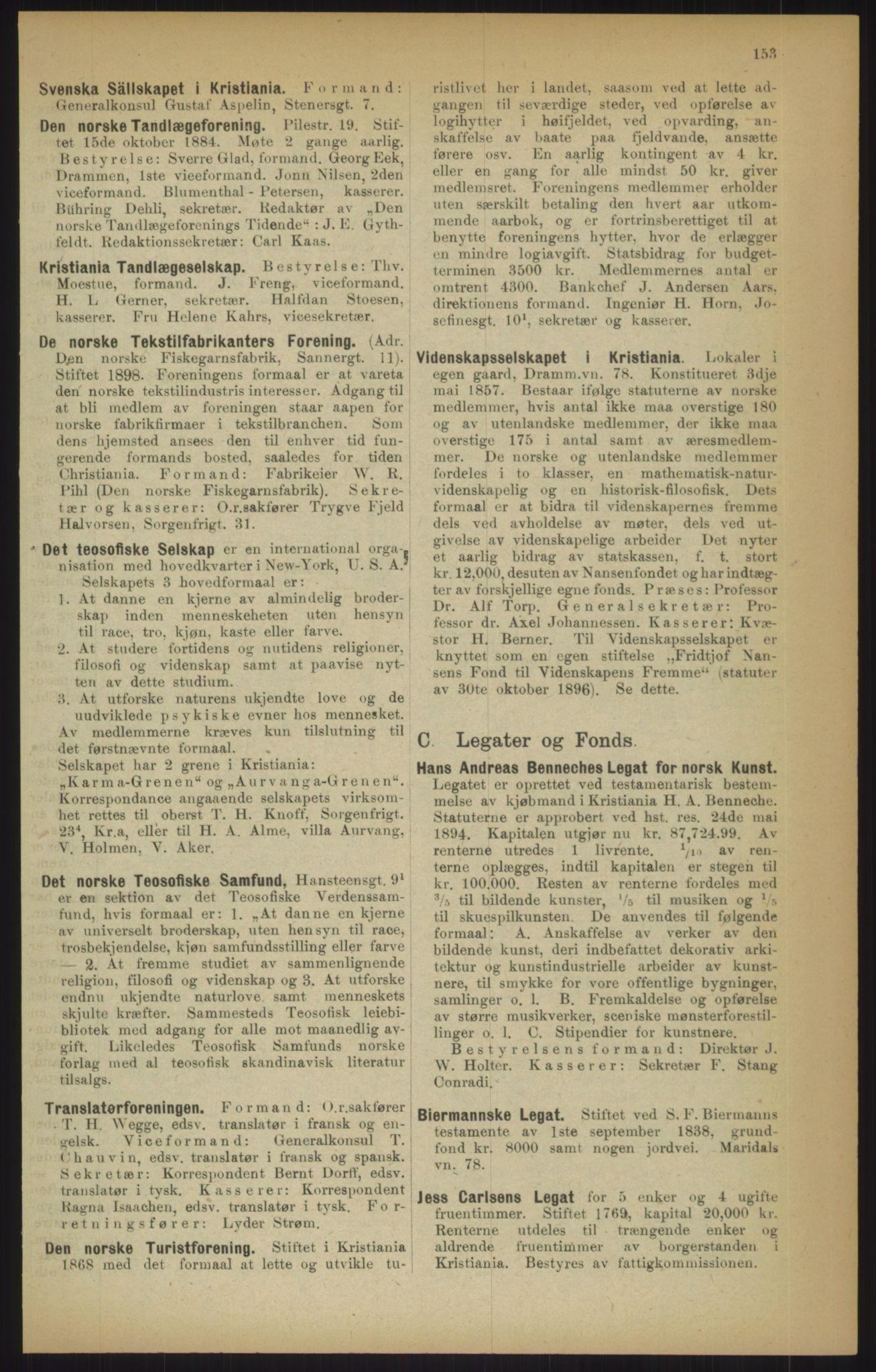 RA, Kristiania adressebok (publikasjon)*, 1915, s. 153