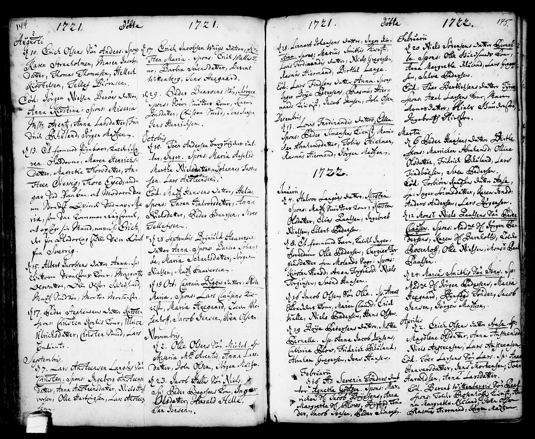 SAKO, Kragerø kirkebøker, F/Fa/L0001: Ministerialbok nr. 1, 1702-1766, s. 144-145