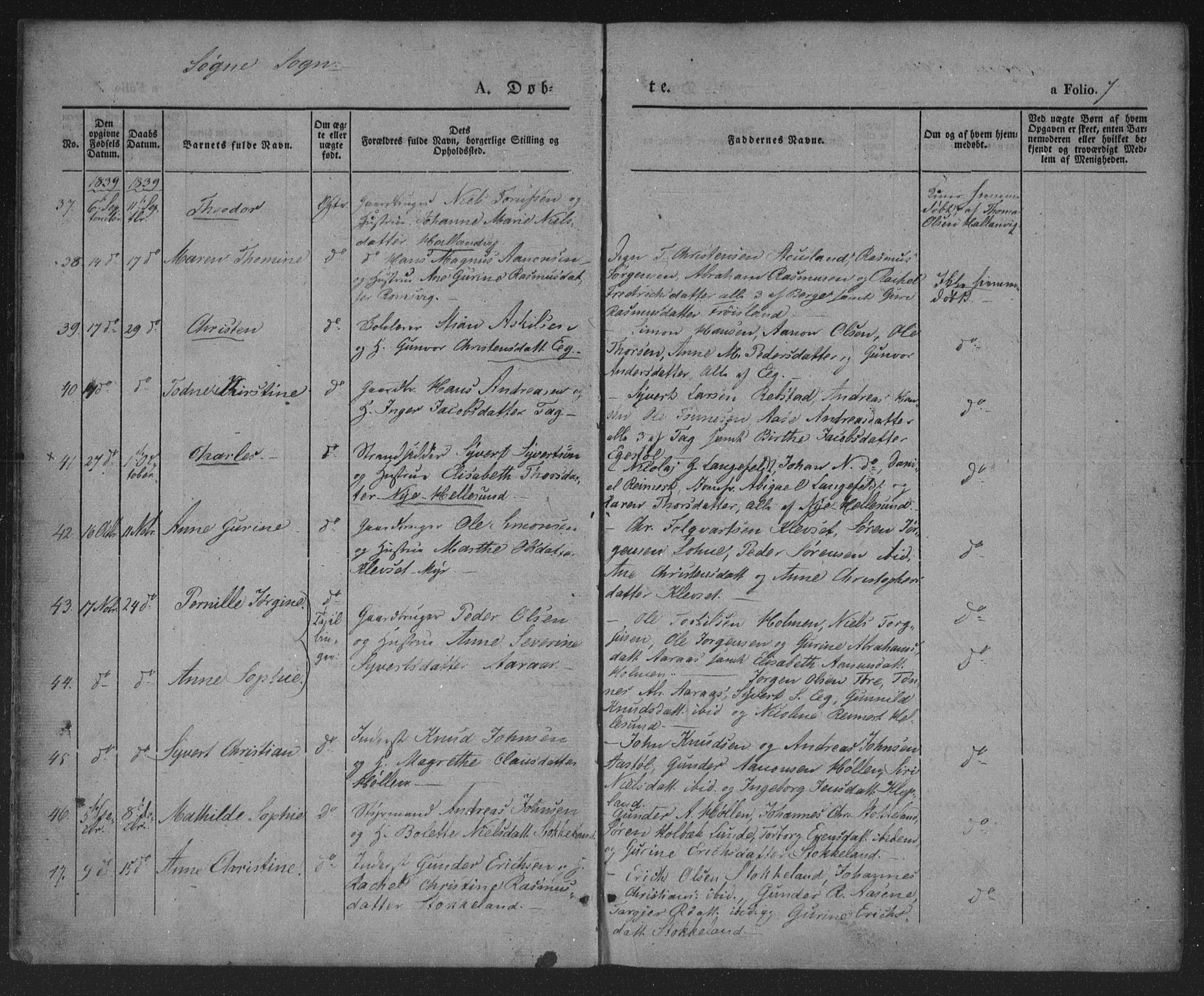 SAK, Søgne sokneprestkontor, F/Fa/Fab/L0009: Ministerialbok nr. A 9, 1838-1853, s. 7