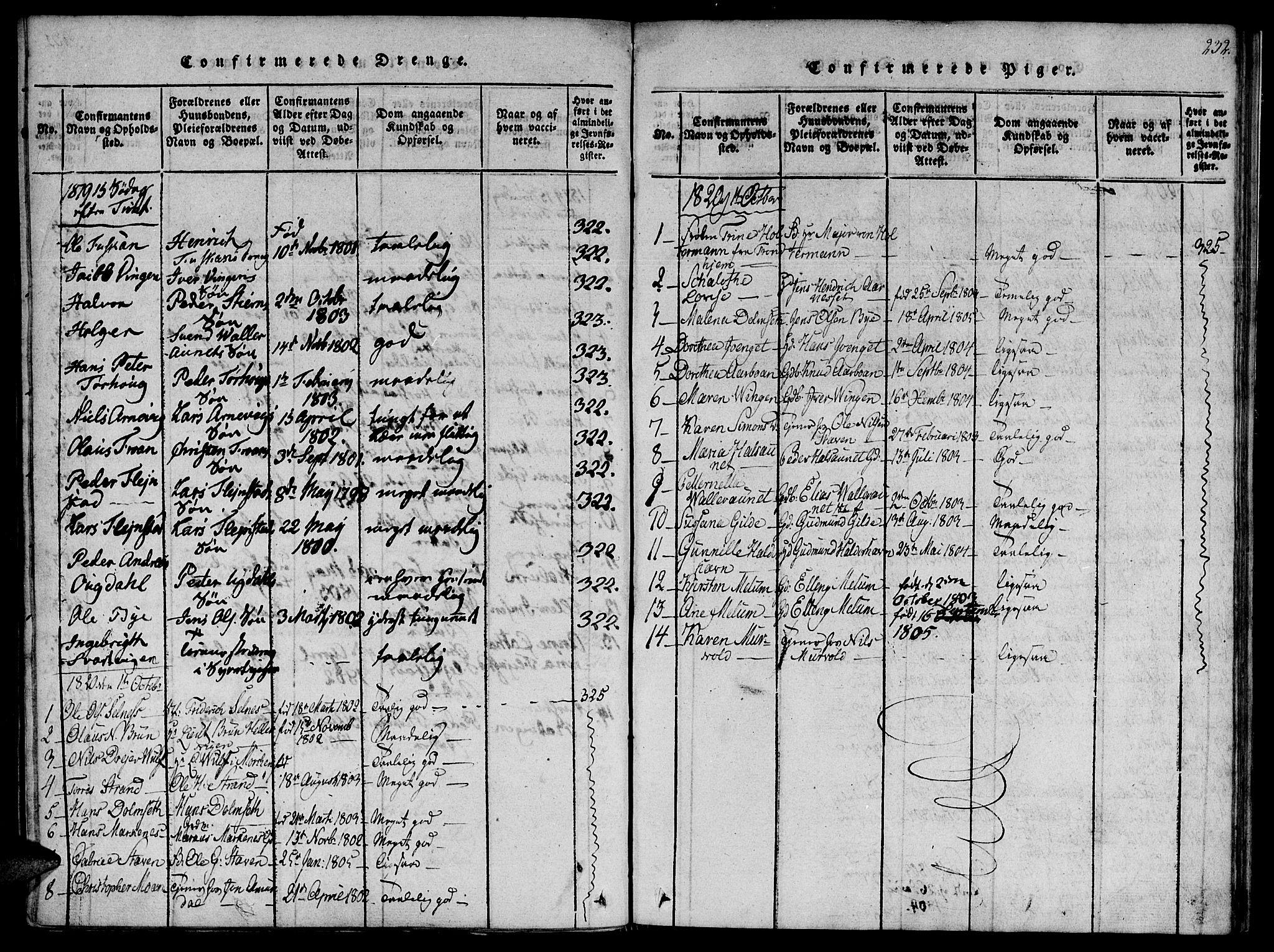 SAT, Ministerialprotokoller, klokkerbøker og fødselsregistre - Sør-Trøndelag, 655/L0675: Ministerialbok nr. 655A04, 1818-1830, s. 232