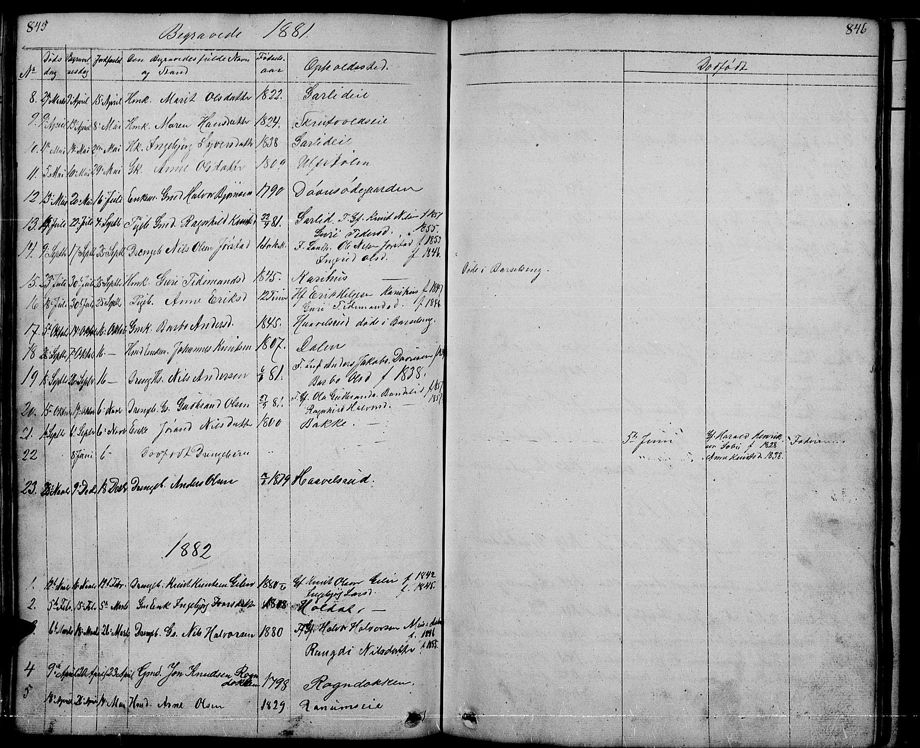 SAH, Nord-Aurdal prestekontor, Klokkerbok nr. 1, 1834-1887, s. 845-846