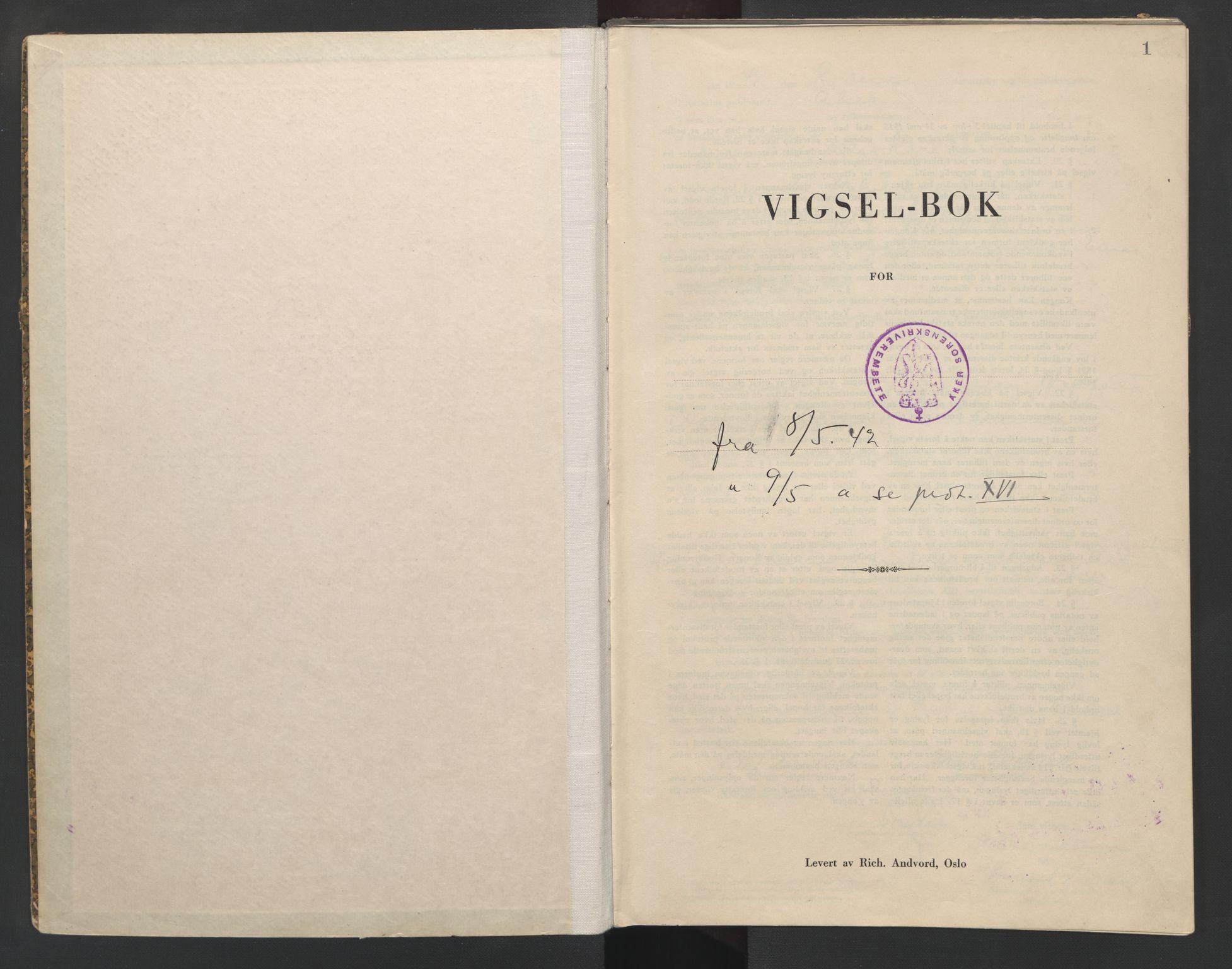 SAO, Aker sorenskriveri, L/Lc/Lcb/L0015: Vigselprotokoll, 1942, s. 1