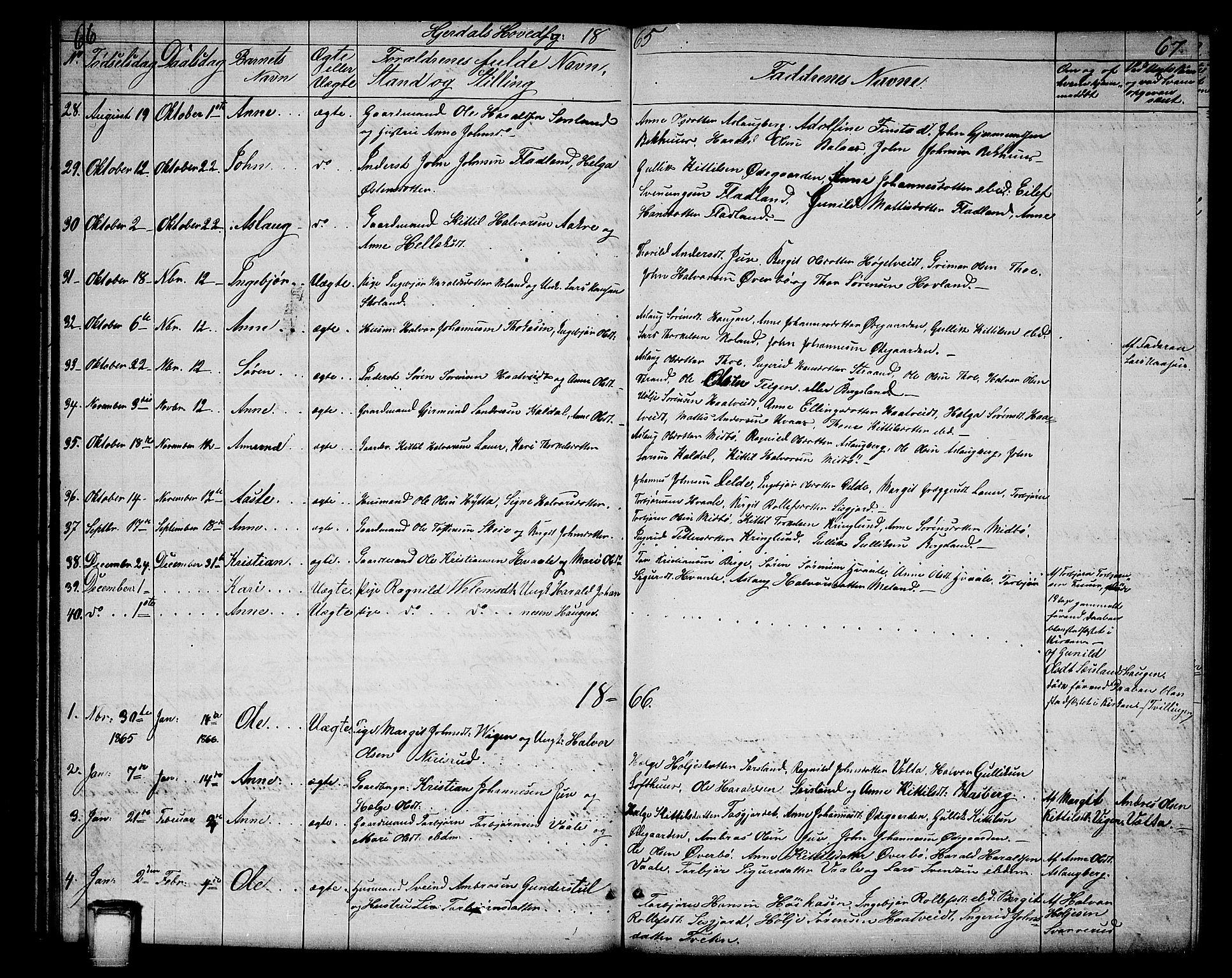 SAKO, Hjartdal kirkebøker, G/Ga/L0002: Klokkerbok nr. I 2, 1854-1888, s. 66-67
