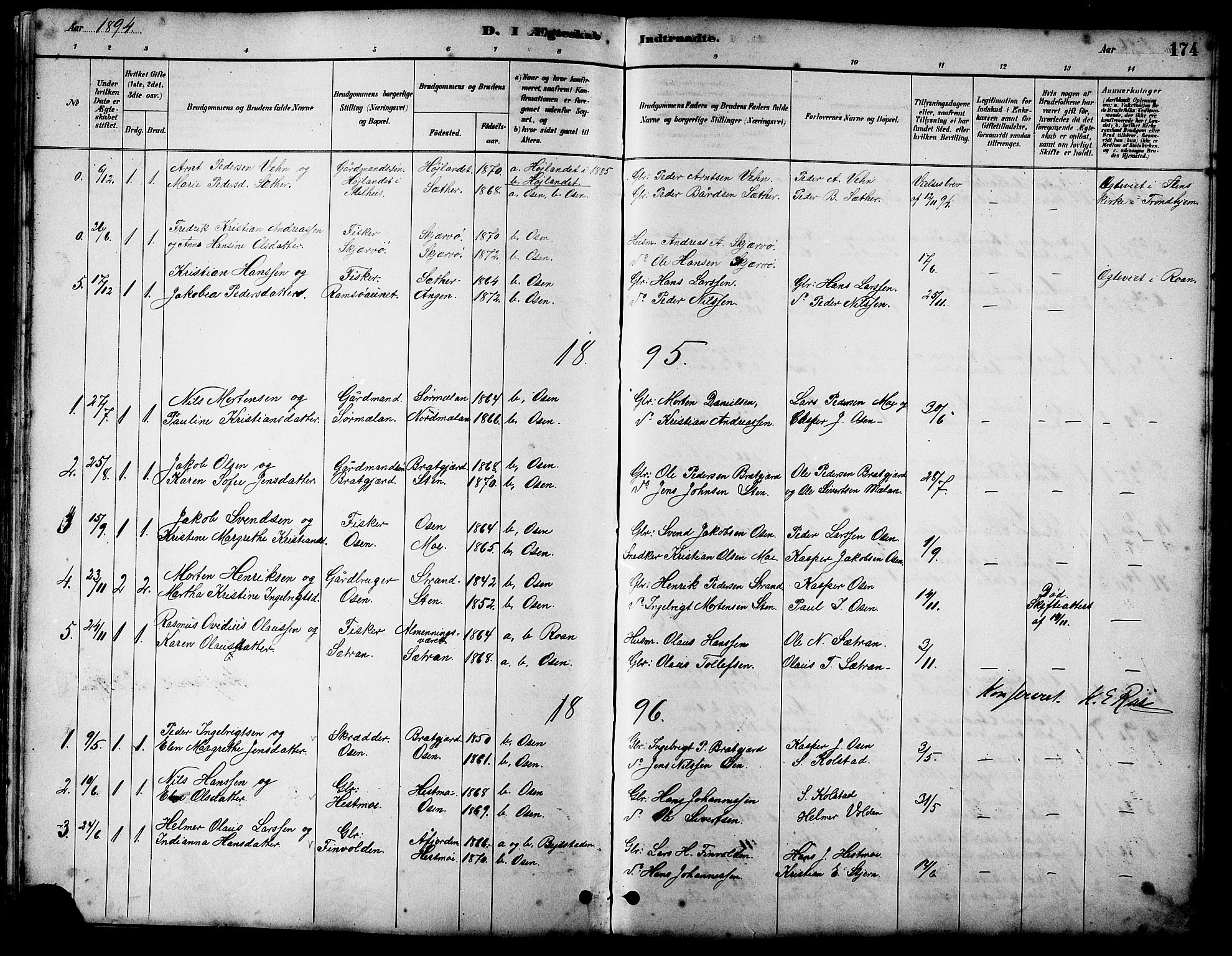 SAT, Ministerialprotokoller, klokkerbøker og fødselsregistre - Sør-Trøndelag, 658/L0726: Klokkerbok nr. 658C02, 1883-1908, s. 174