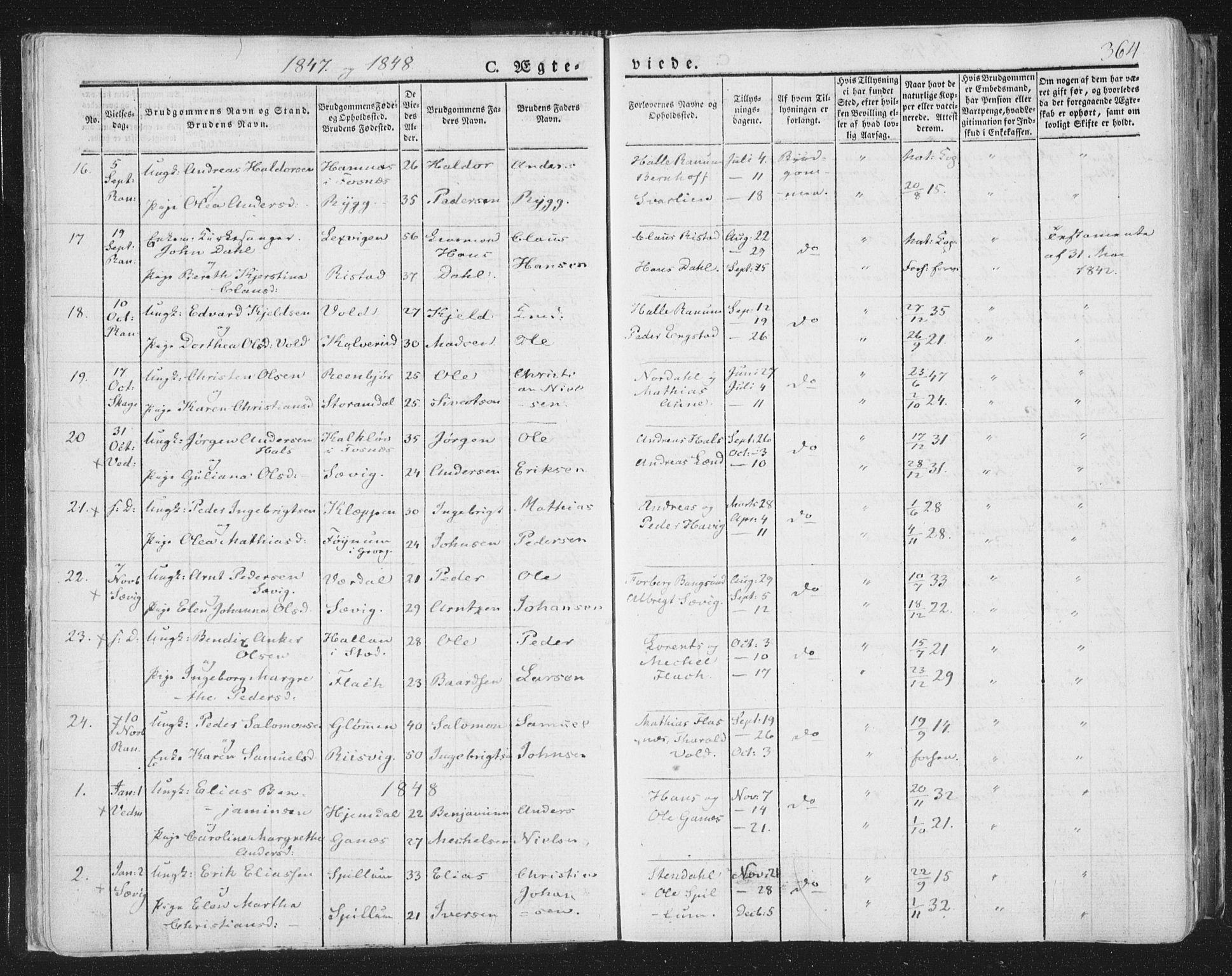 SAT, Ministerialprotokoller, klokkerbøker og fødselsregistre - Nord-Trøndelag, 764/L0552: Ministerialbok nr. 764A07b, 1824-1865, s. 364