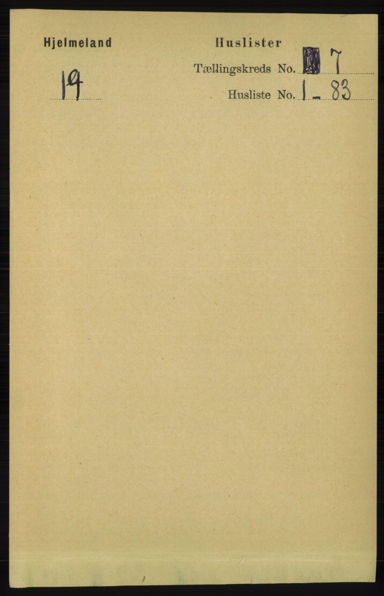 RA, Folketelling 1891 for 1133 Hjelmeland herred, 1891, s. 1864