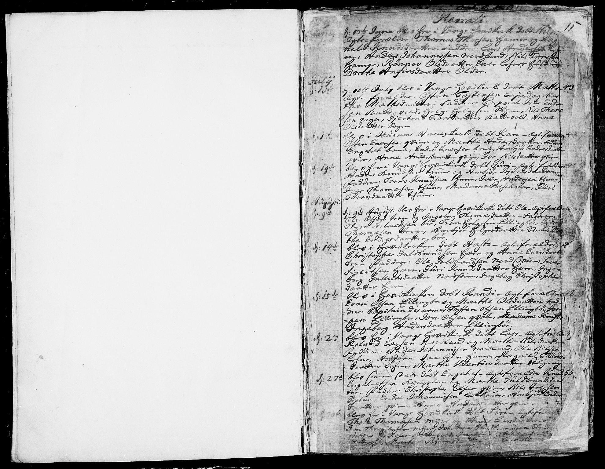 SAH, Vang prestekontor, Valdres, Ministerialbok nr. 1, 1730-1796, s. 10-11