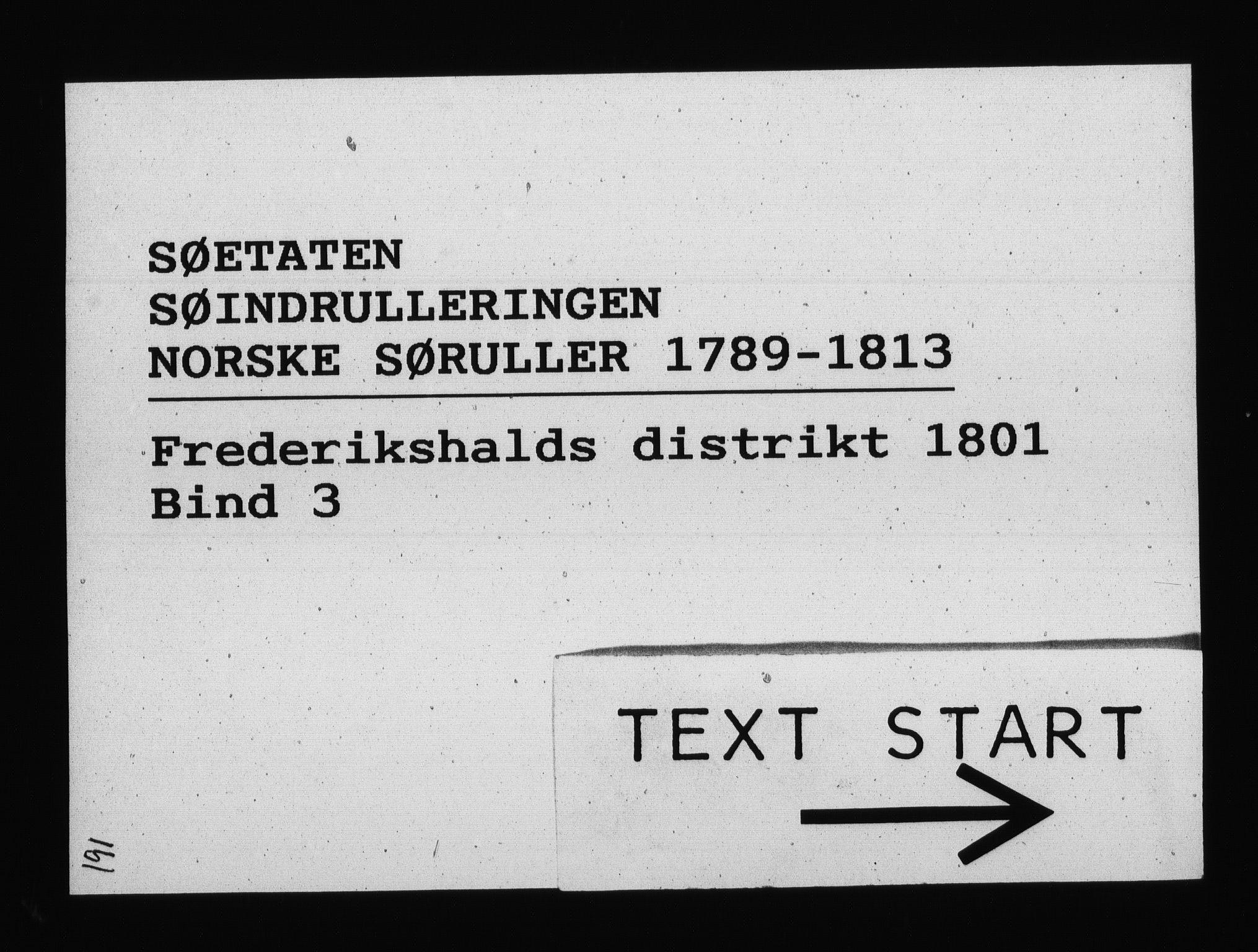 RA, Sjøetaten, F/L0192: Fredrikshalds distrikt, bind 3, 1801