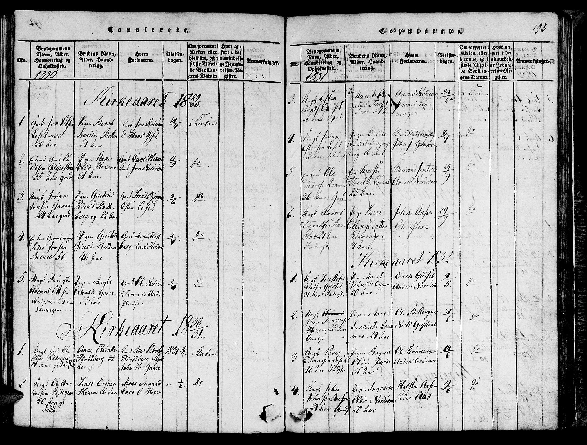 SAT, Ministerialprotokoller, klokkerbøker og fødselsregistre - Sør-Trøndelag, 685/L0976: Klokkerbok nr. 685C01, 1817-1878, s. 193