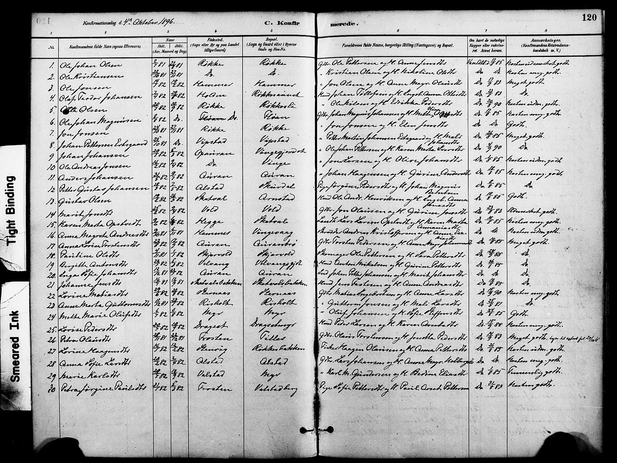 SAT, Ministerialprotokoller, klokkerbøker og fødselsregistre - Nord-Trøndelag, 712/L0100: Ministerialbok nr. 712A01, 1880-1900, s. 120